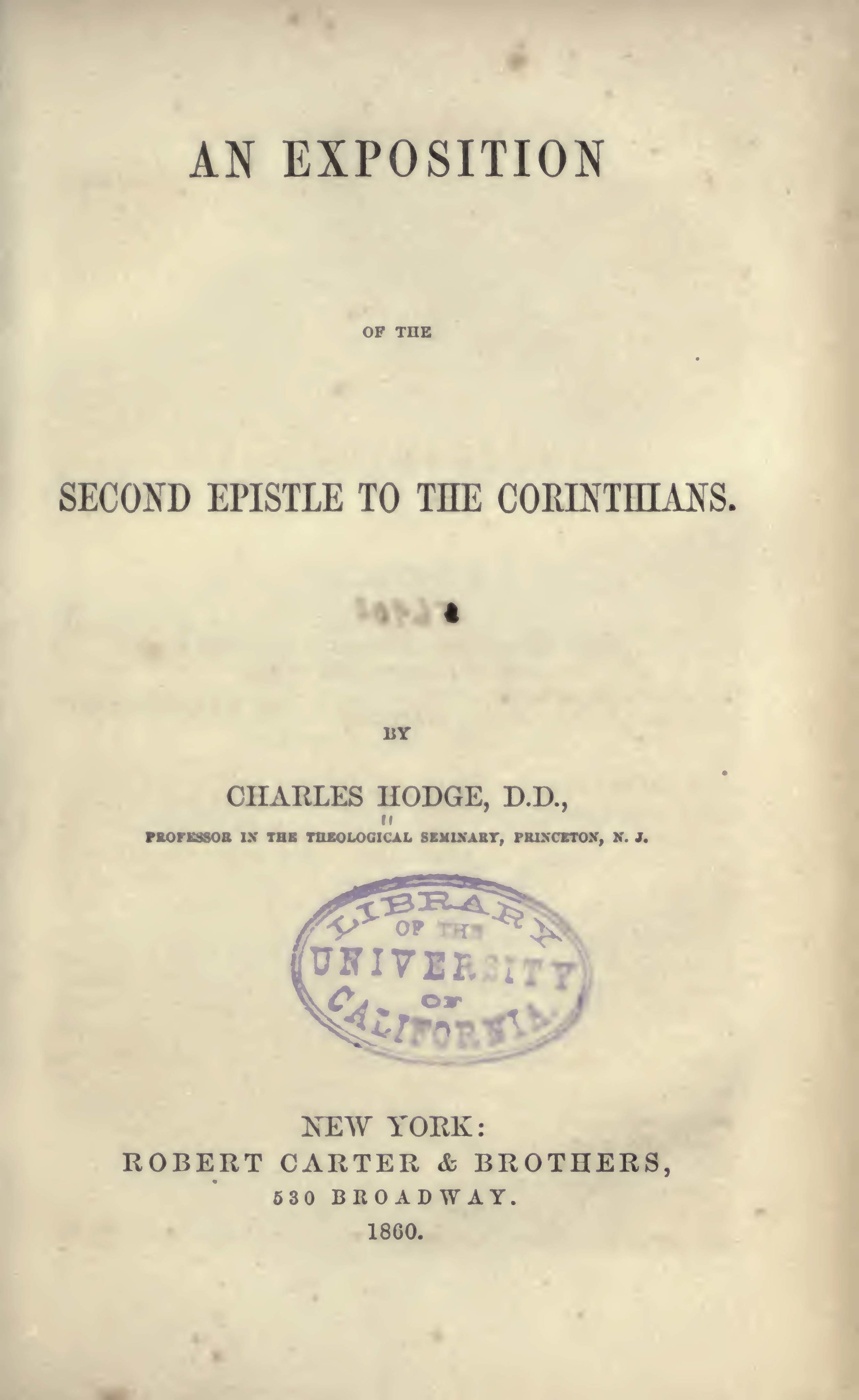 Hodge, Charles, An Exposition of the Second Epistle to the Corinthians Title Page.jpg