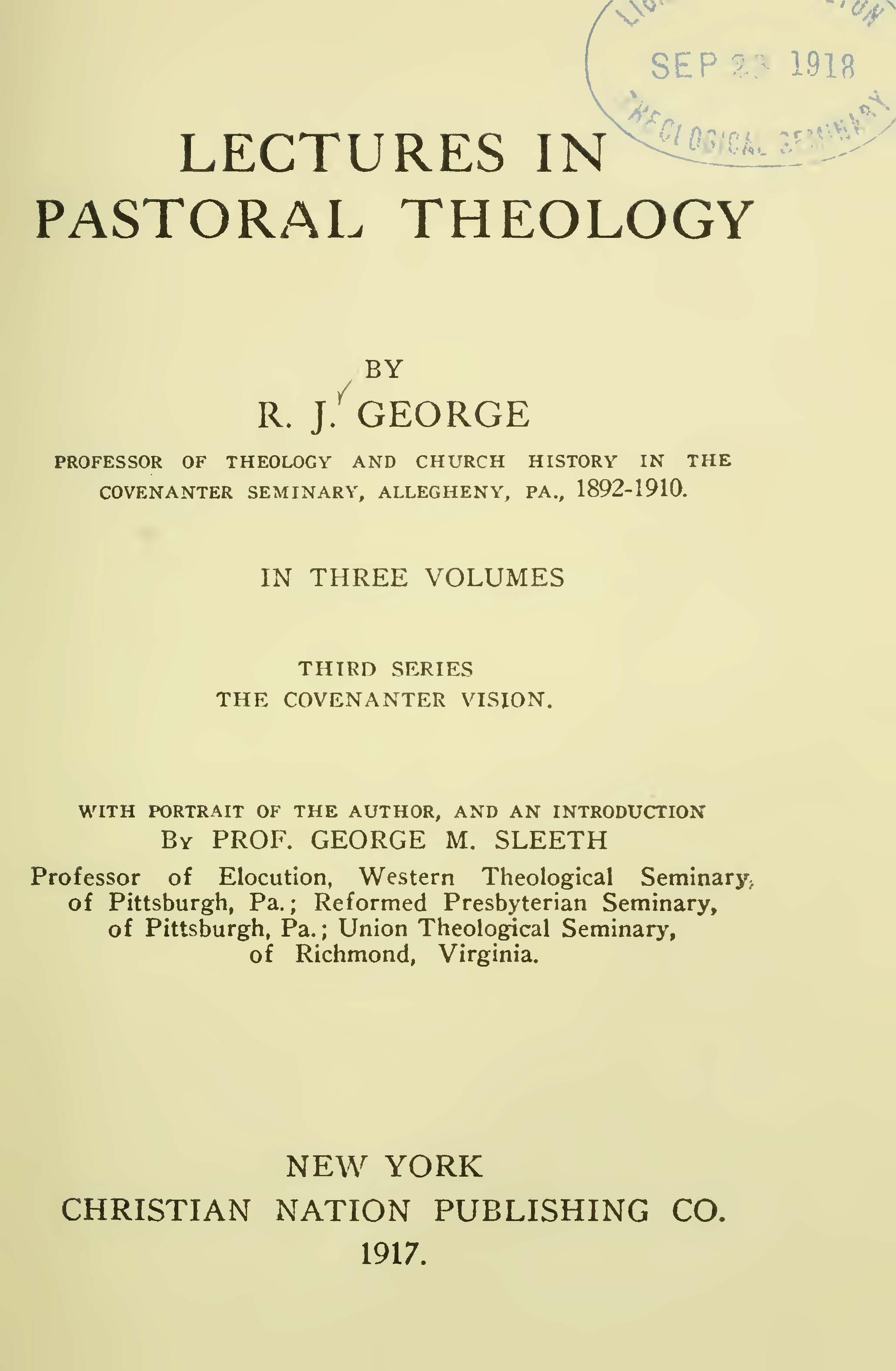 George, Robert James, Lectures in Pastoral Theology, Vol. 3 Title Page.jpg