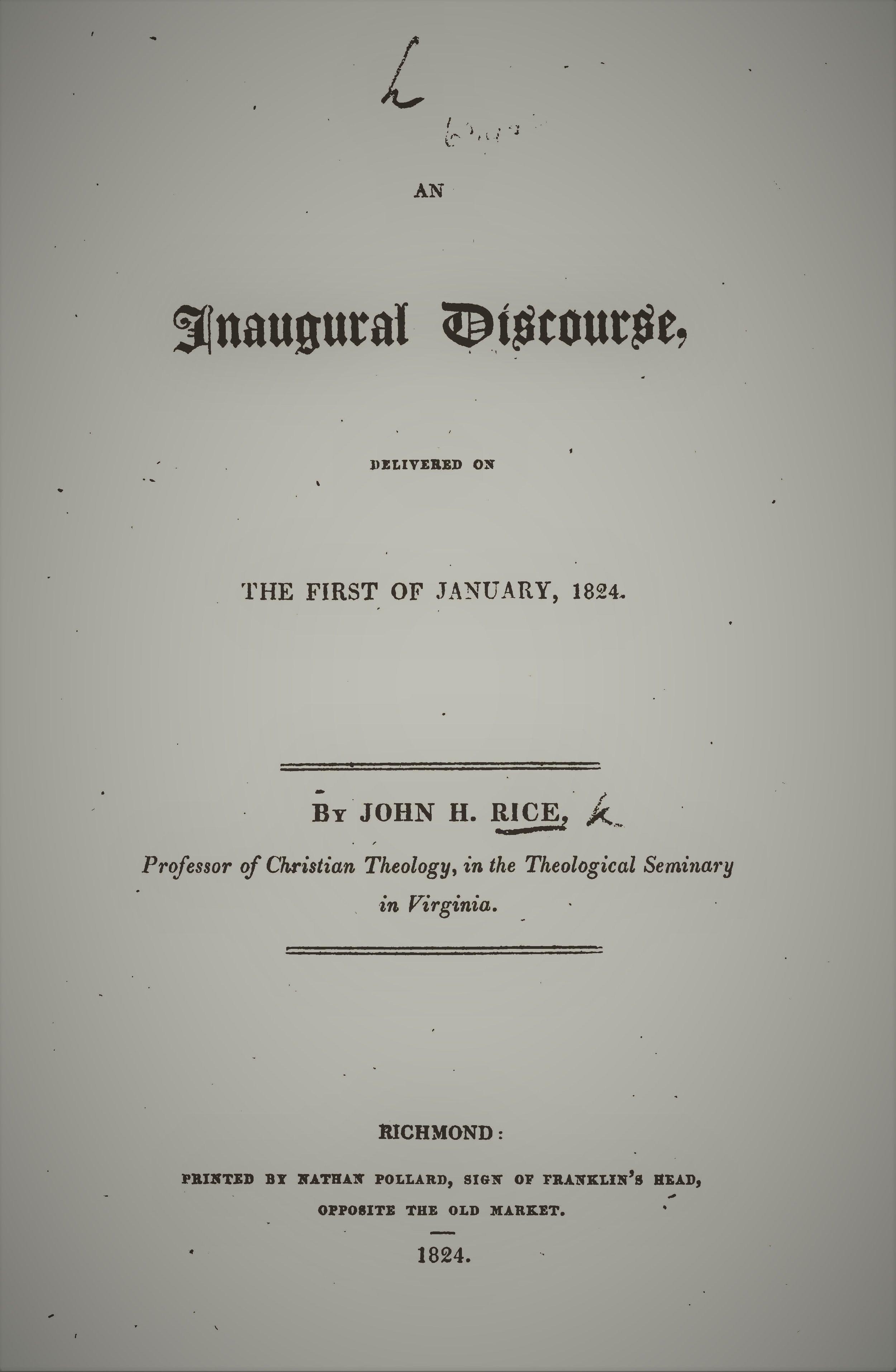 Rice, John Holt - Inaugural Discourse.jpg