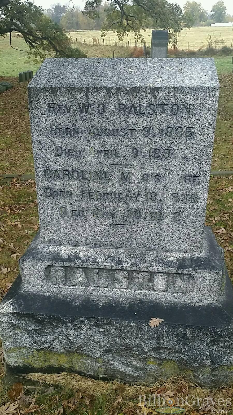 William David Ralston is buried at Oakland Cemetery, Warsaw, Illinois.