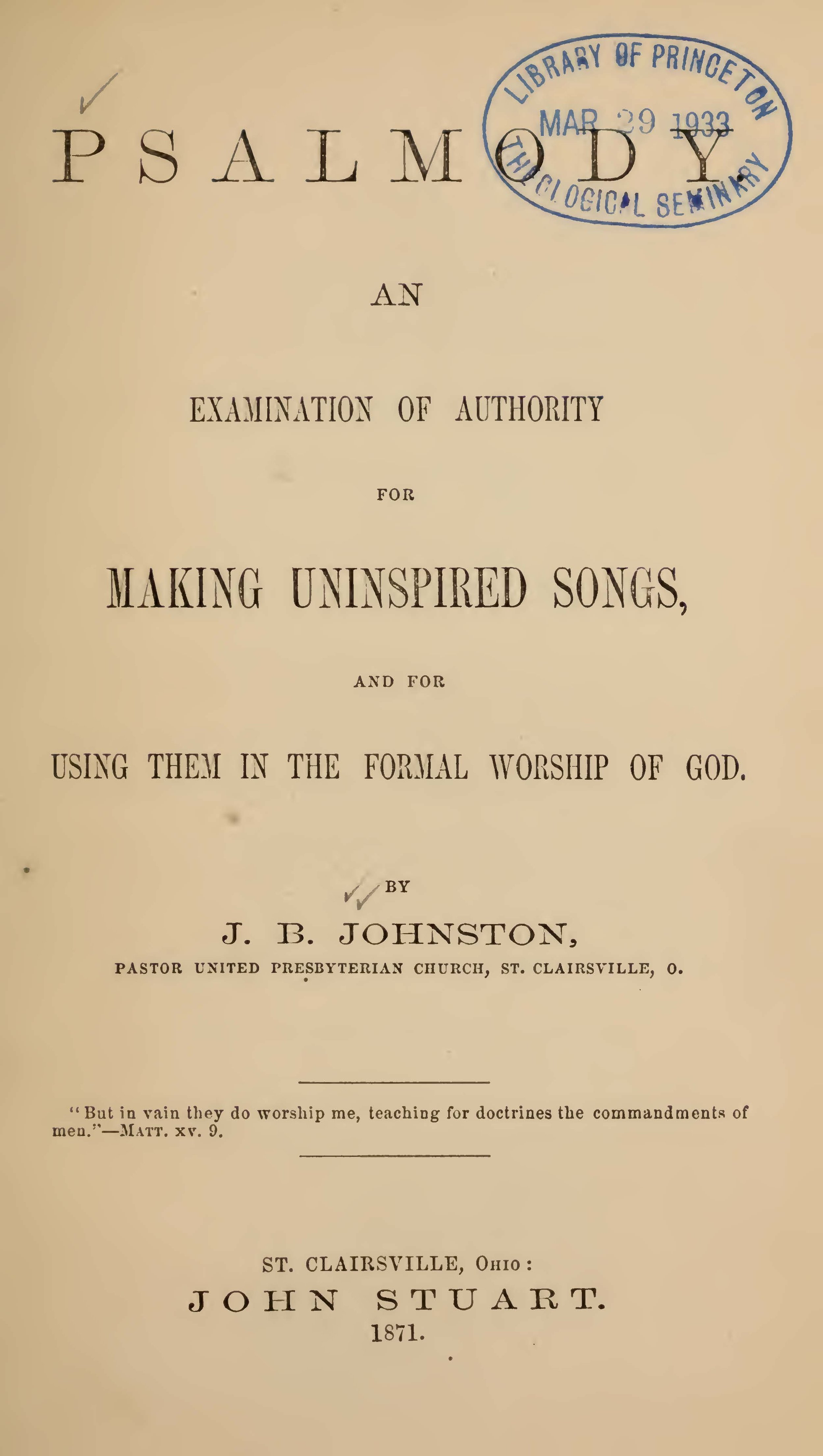 Johnston, John Black, Psalmody An Examination Title Page.jpg