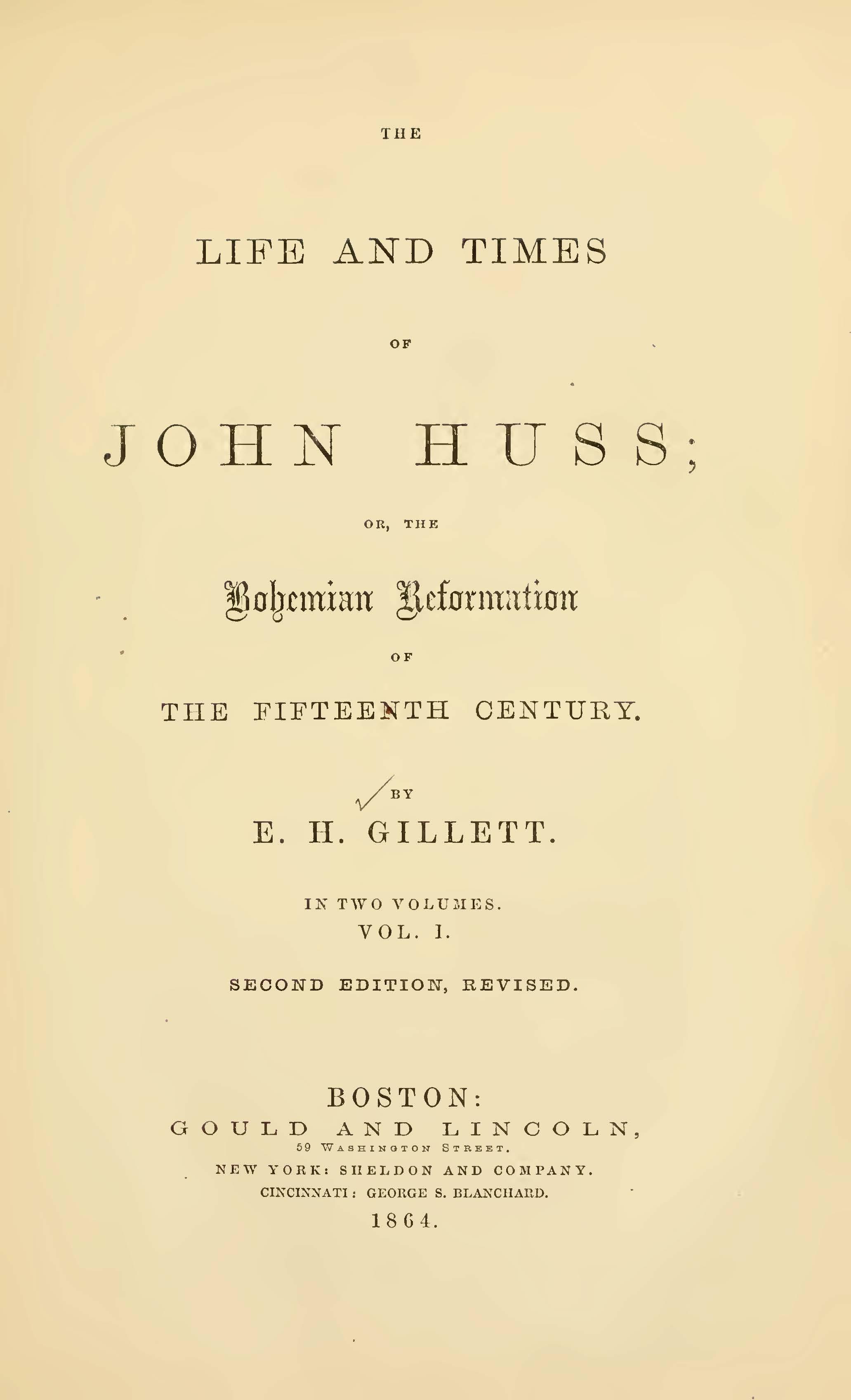 Gillett, Ezra Hall, The Life and Times of John Huss Title Page.jpg