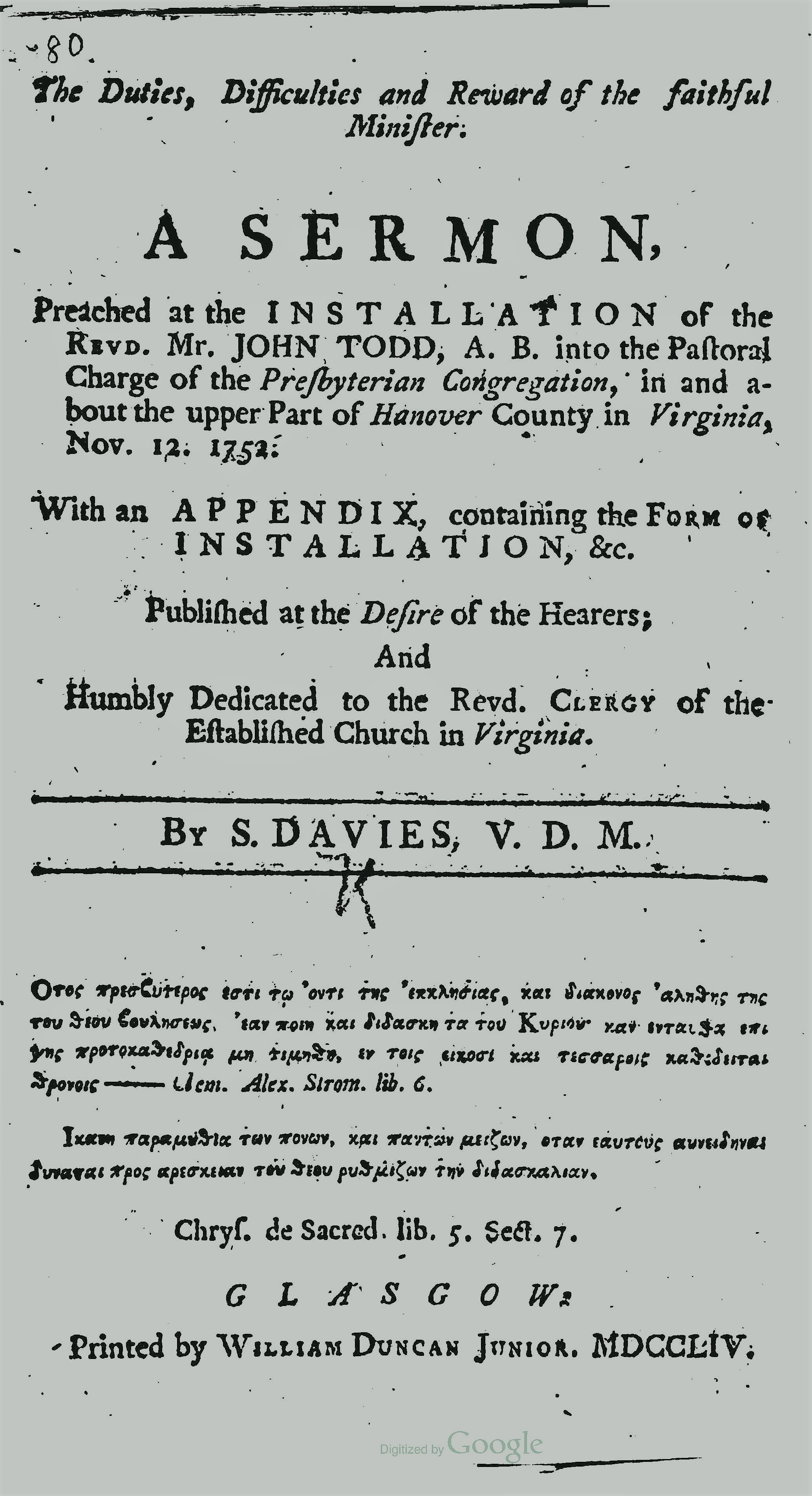 Davies, Samuel, The Duties Difficulties and Reward of the Faithful Minister Title Page.jpg