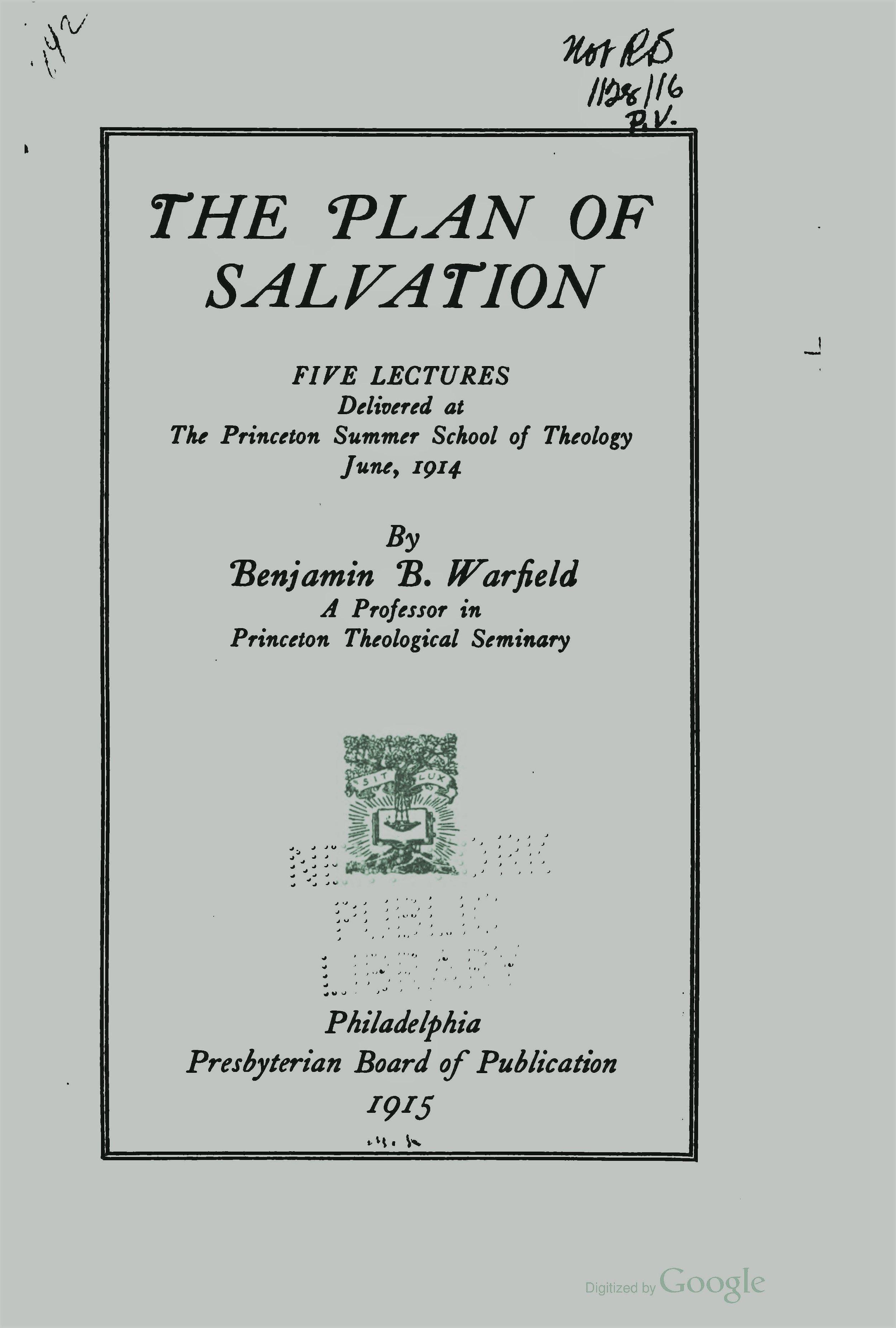 Warfield, Benjamin Breckinridge, The Plan of Salvation Title Page.jpg