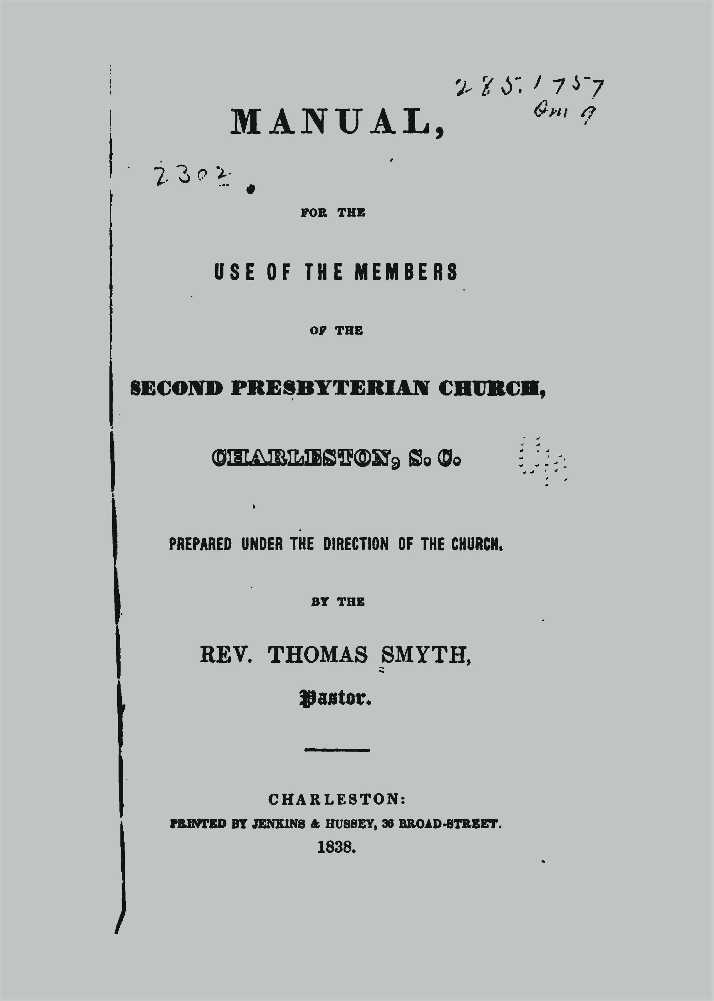 Smyth, Thomas, Manual for the Use of the Members of the Second Presbyterian Church Charleston SC Title Page.jpg