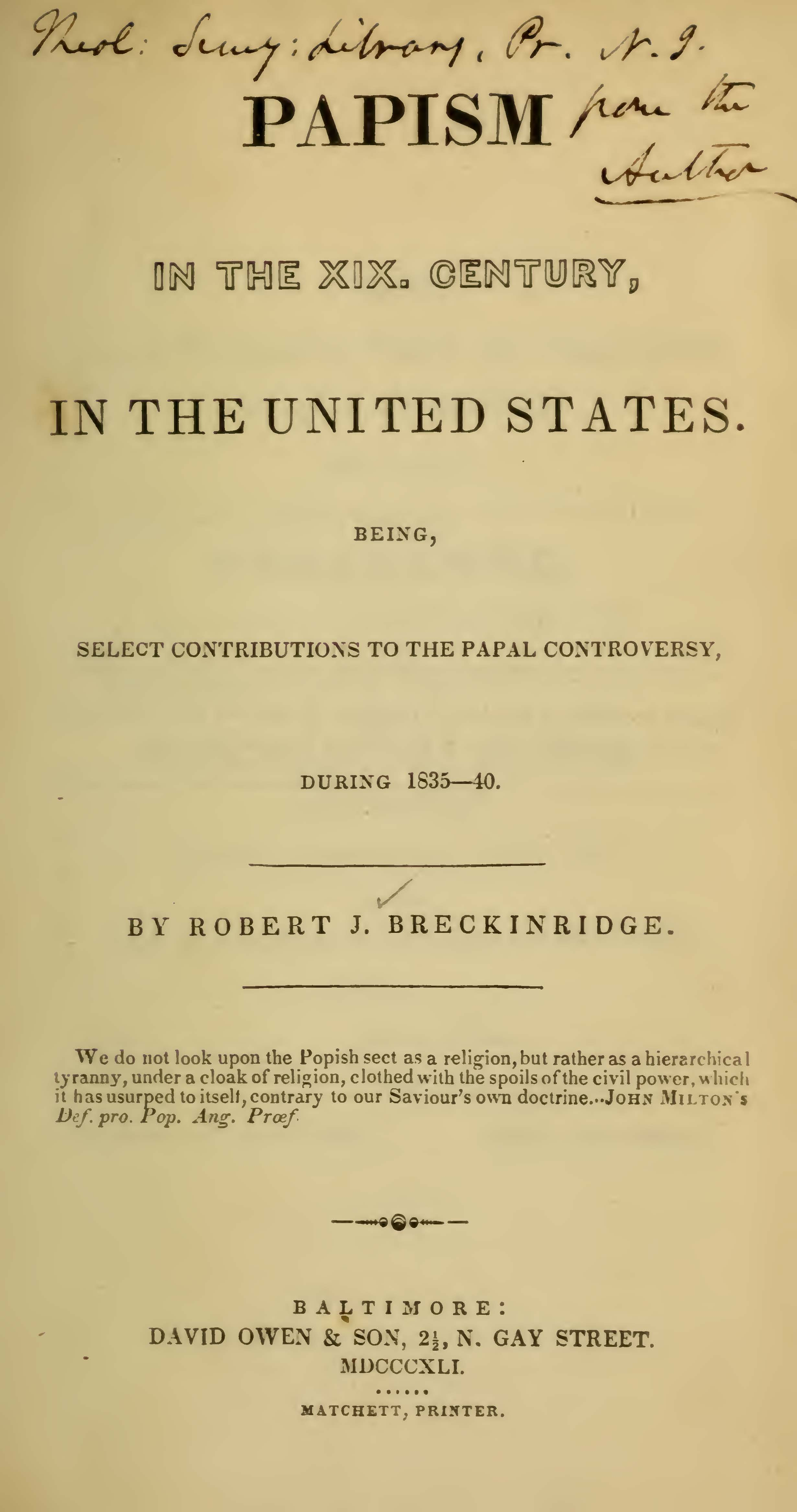 Breckinridge, Robert Jefferson, Papism in the XIX Century in the United States Title Page.jpg