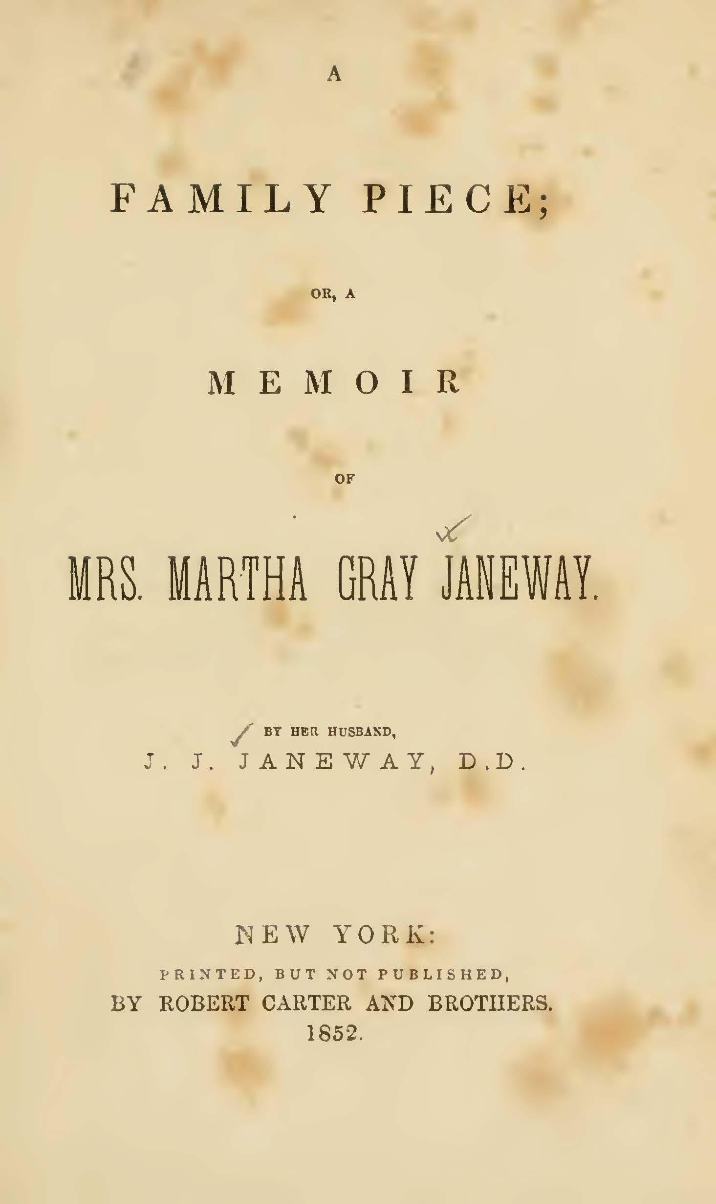 Janeway, Jacob Jones, A Family Piece Title Page.jpg