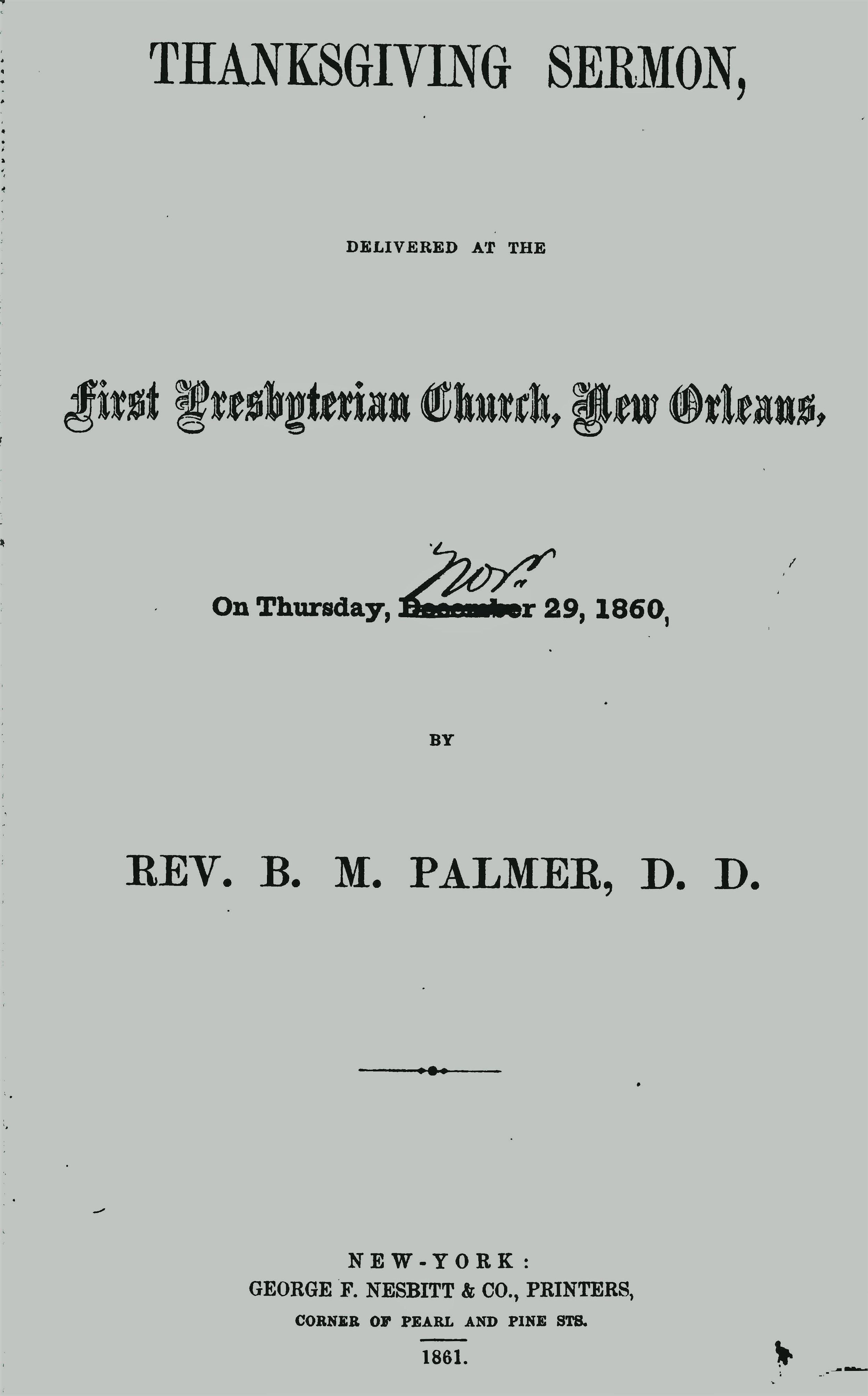 Palmer, Benjamin Morgan, Thanksgiving Sermon Title Page.jpg
