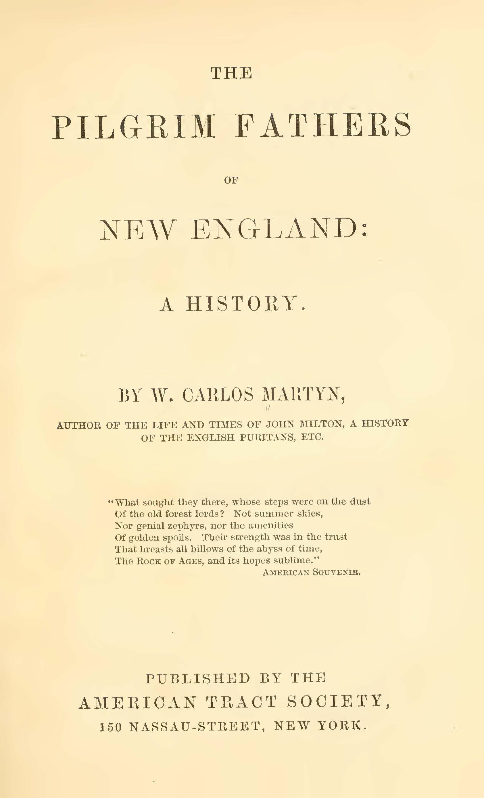 Martyn, William Carlos, The Pilgrim Fathers of New England A History Title Page.jpg