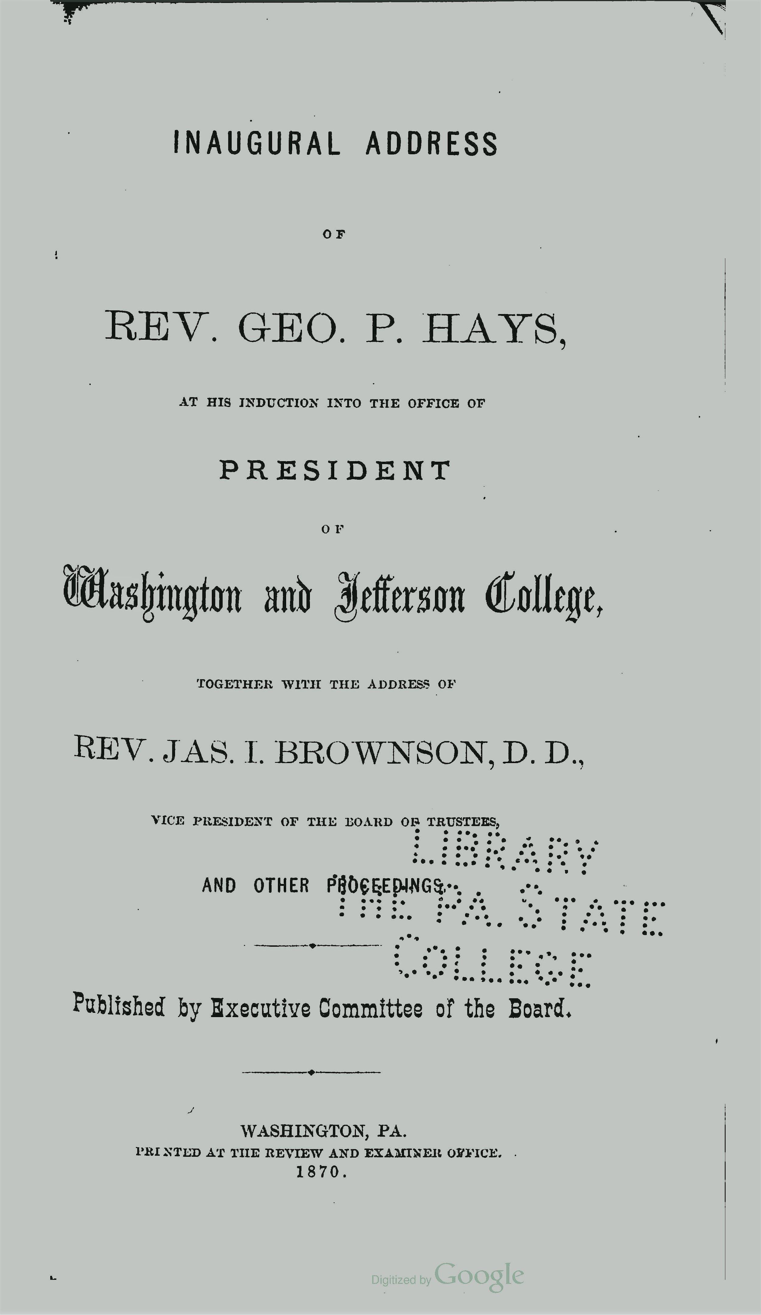 Hays, George Price, Inaugural Address of Rev George P Hays Title Page.jpg