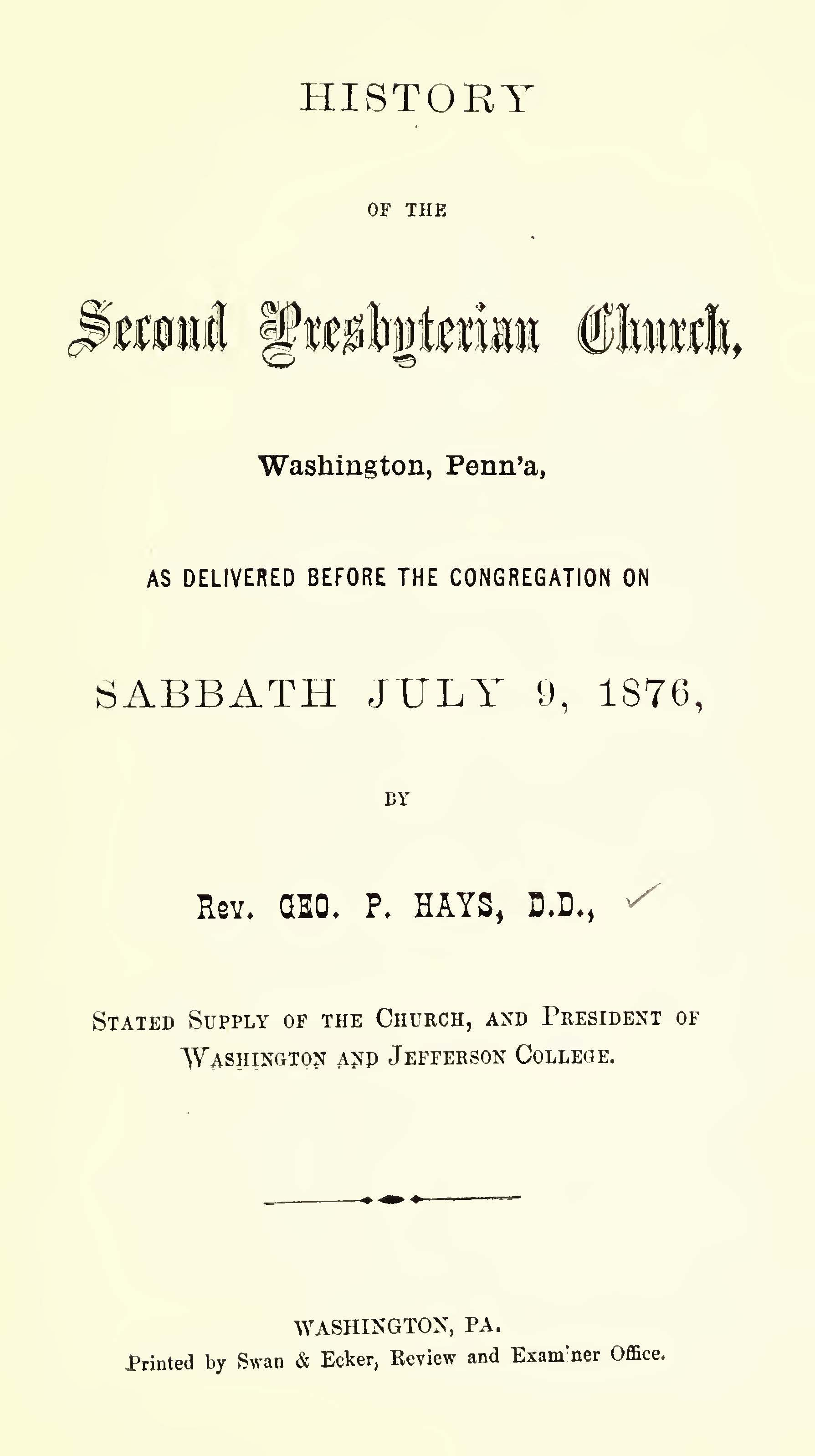 Hays, George Price, History of the Second Presbyterian Church Washington Penna Title Page.jpg