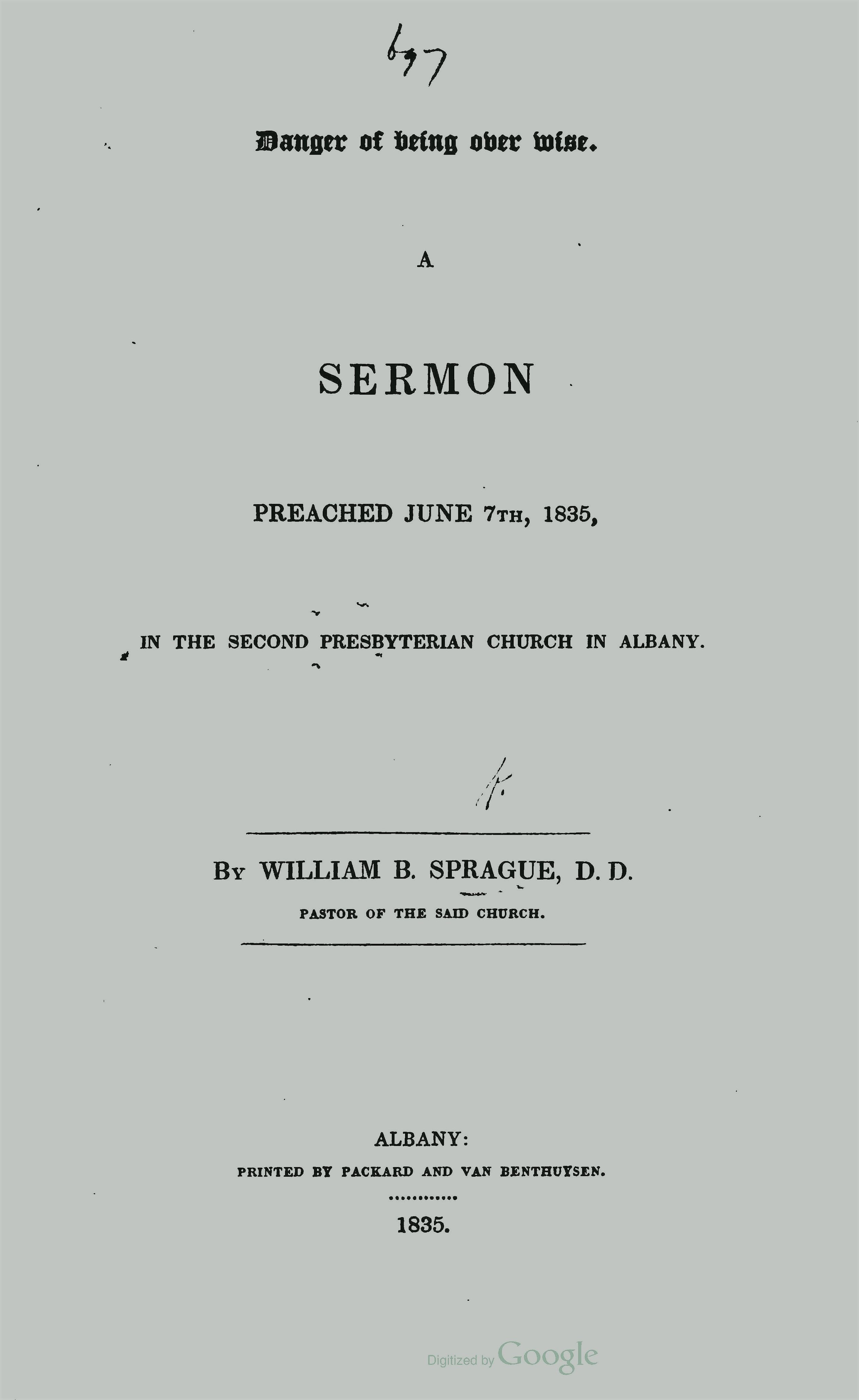 Sprague, William Buell, Danger of Being Overwise Title Page.jpg