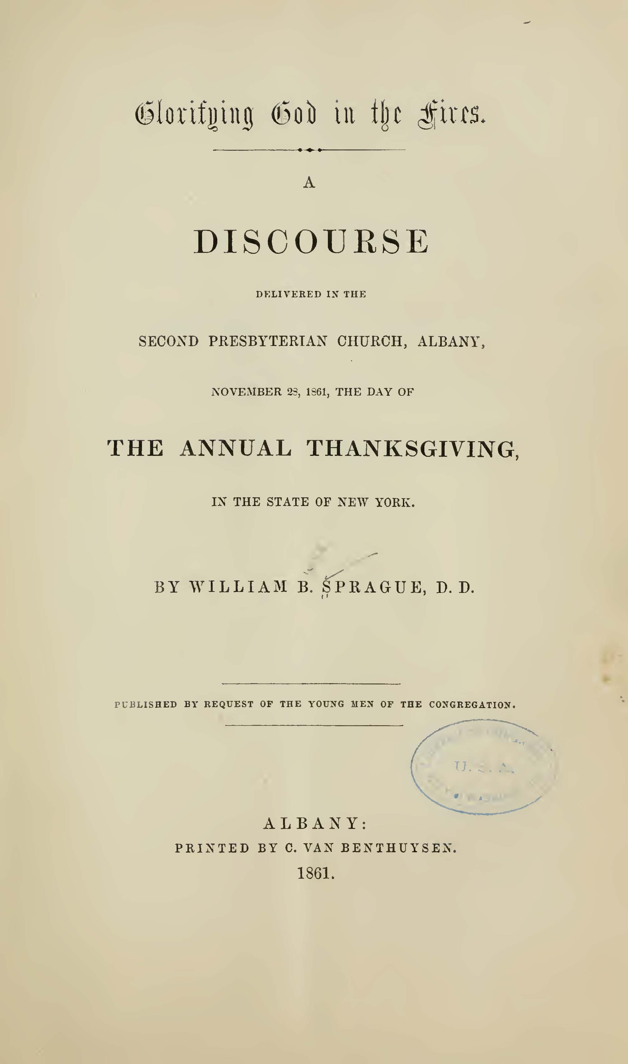 Sprague, William Buell, Glorifying God in the Fires Title Page.jpg