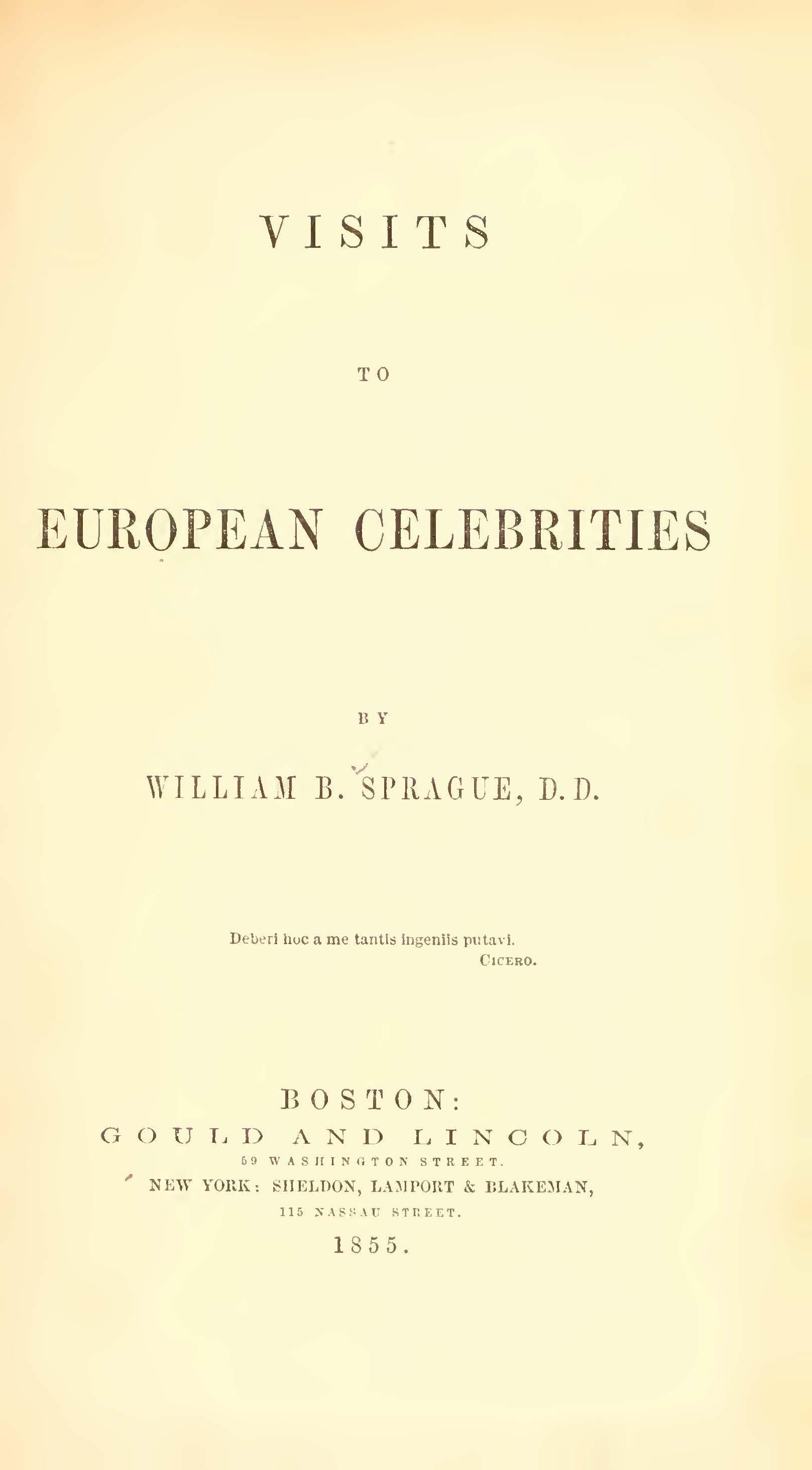 Sprague, William Buell, Visits to European Celebrities Title Page.jpg