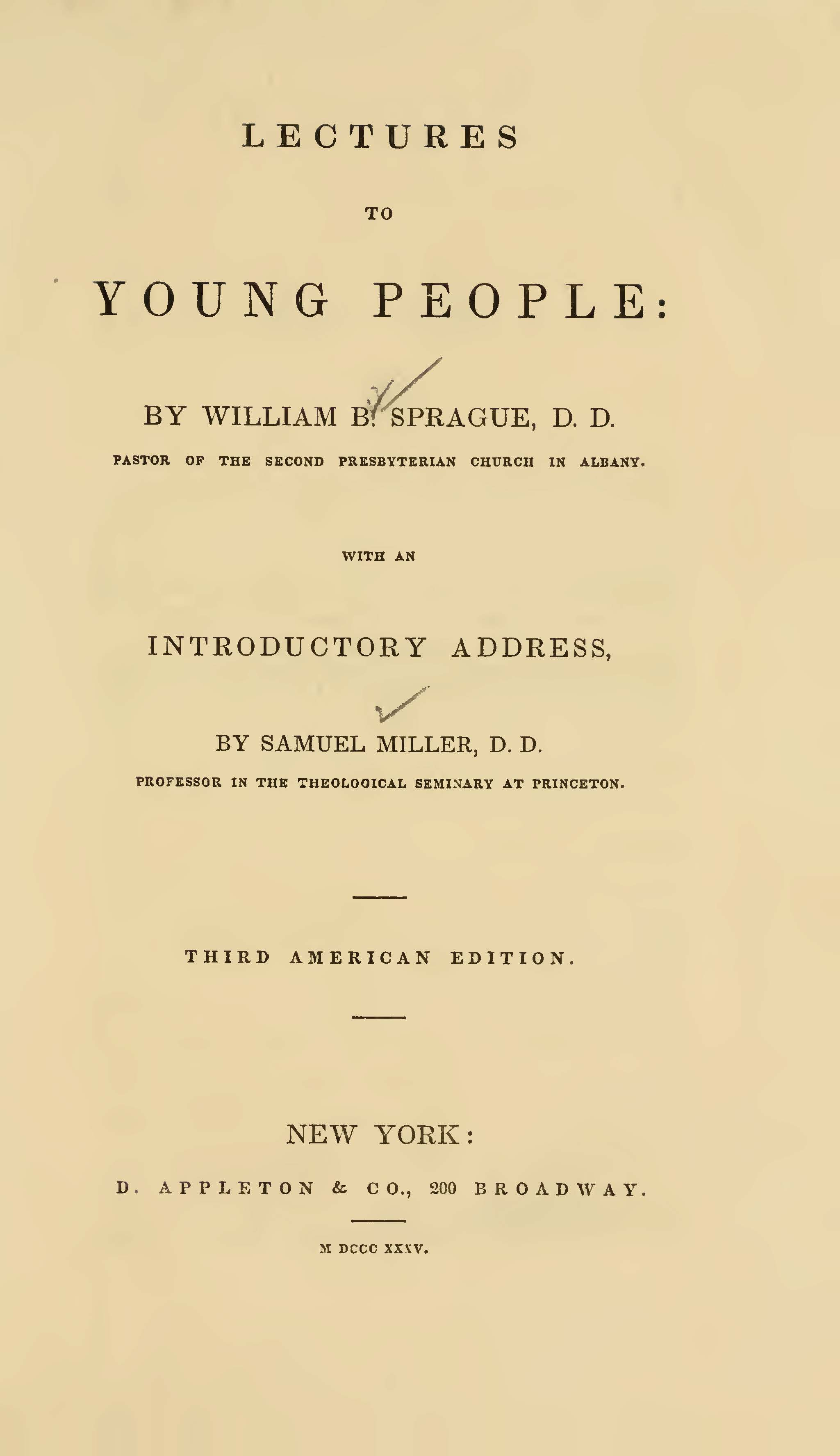 Sprague, William Buell, Lectures to Young People Title Page.jpg