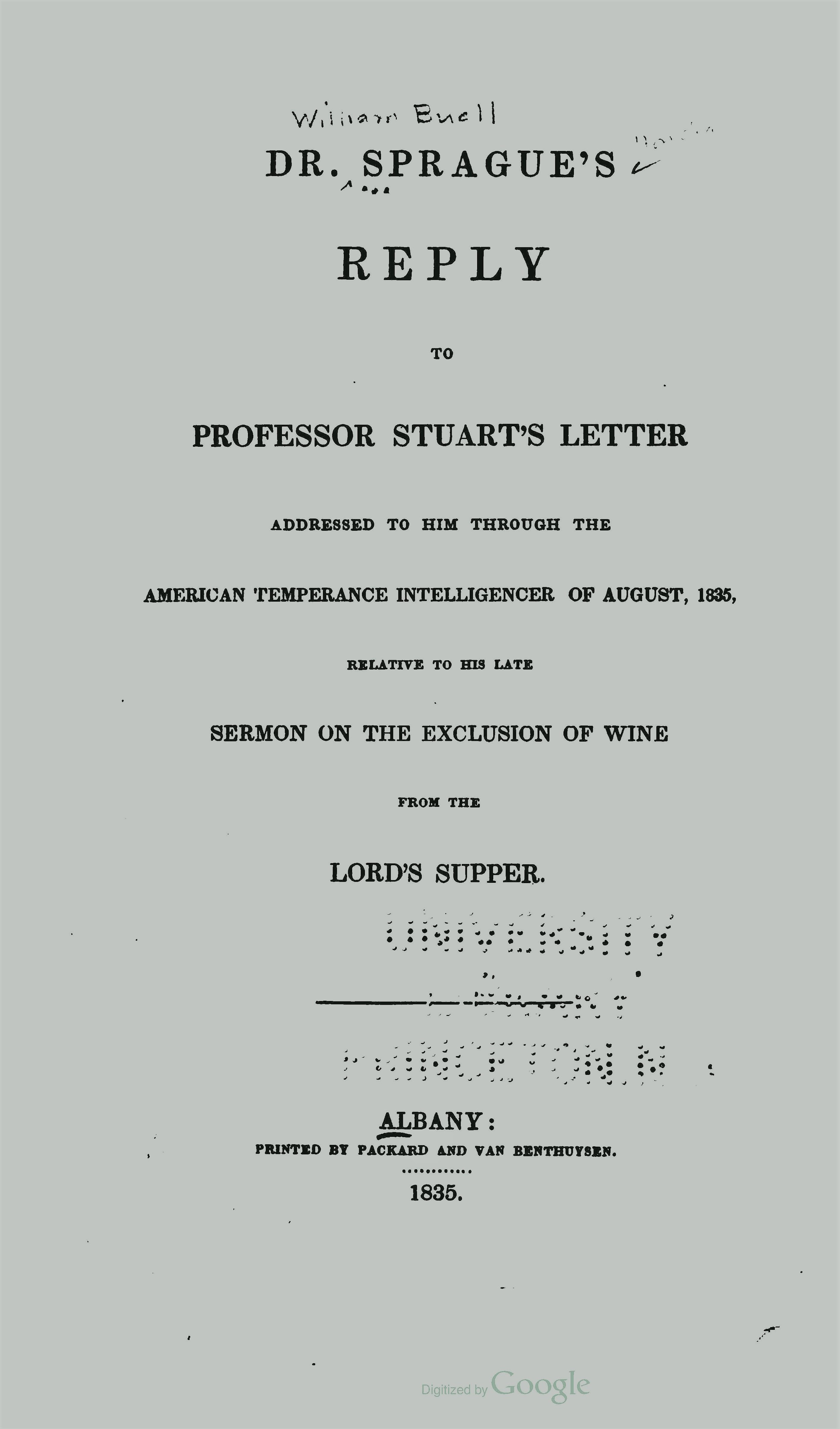 Sprague, William Buell, Dr Spragues Reply to Professor Stuarts Letter Title Page.jpg