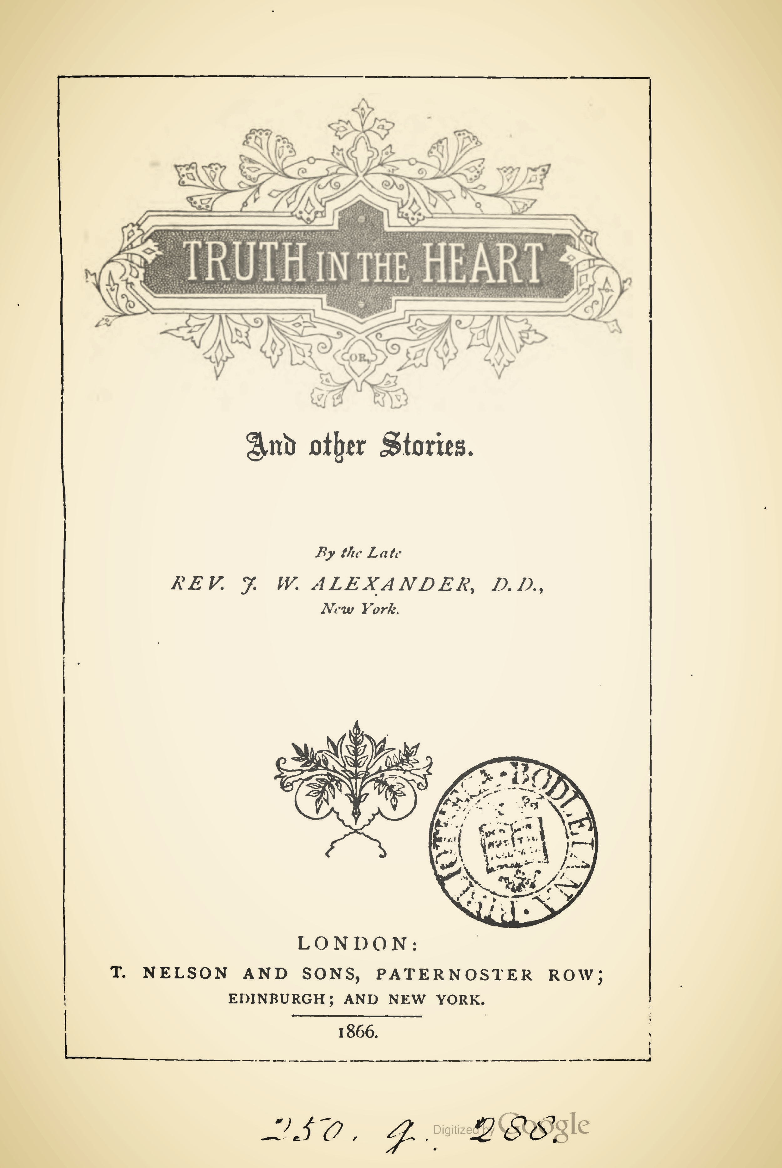 Alexander, James Waddel, Truth in the Heart and Other Stories Title Page.jpg