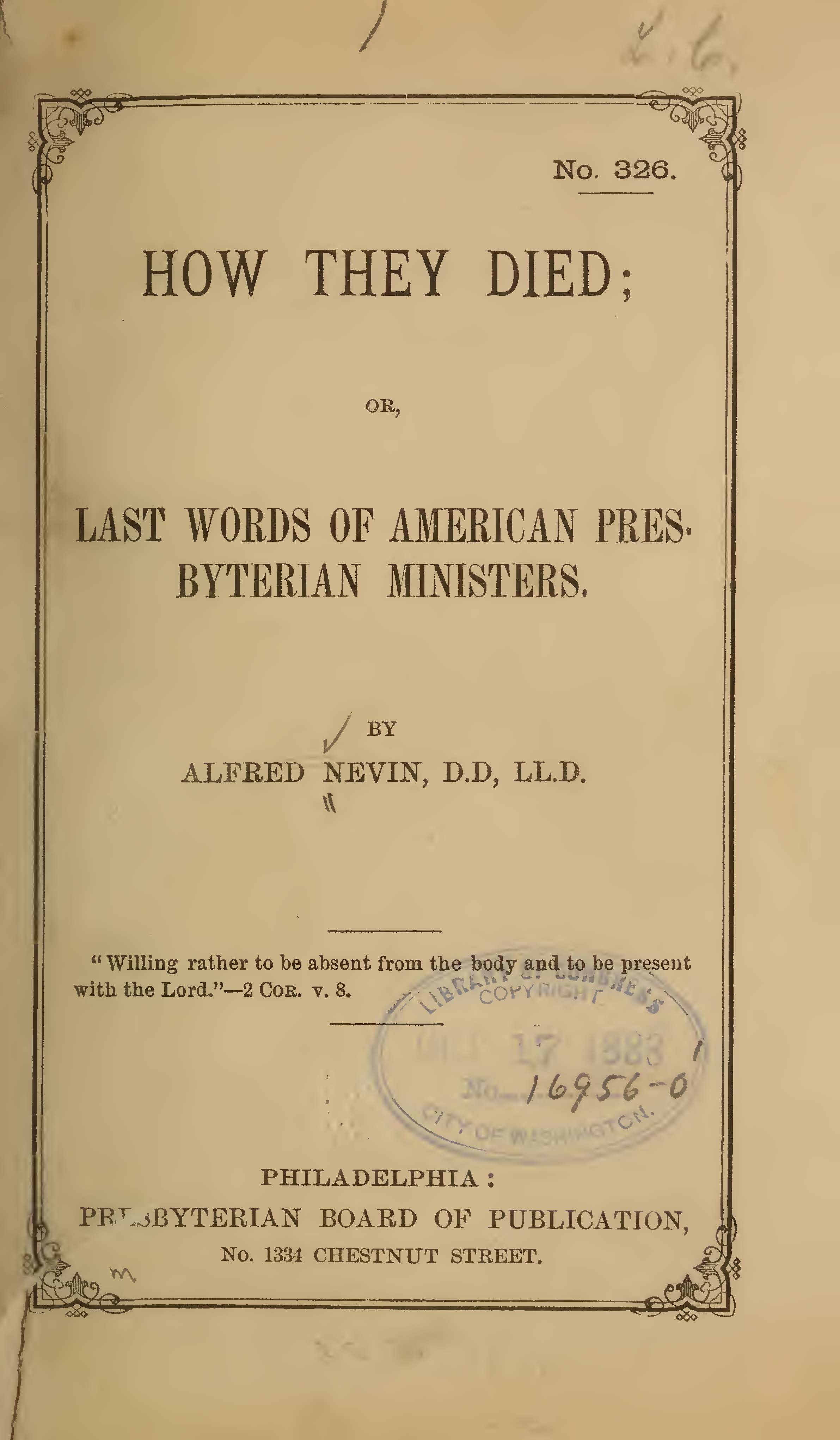Nevin, Alfred, How They Died Title Page.jpg