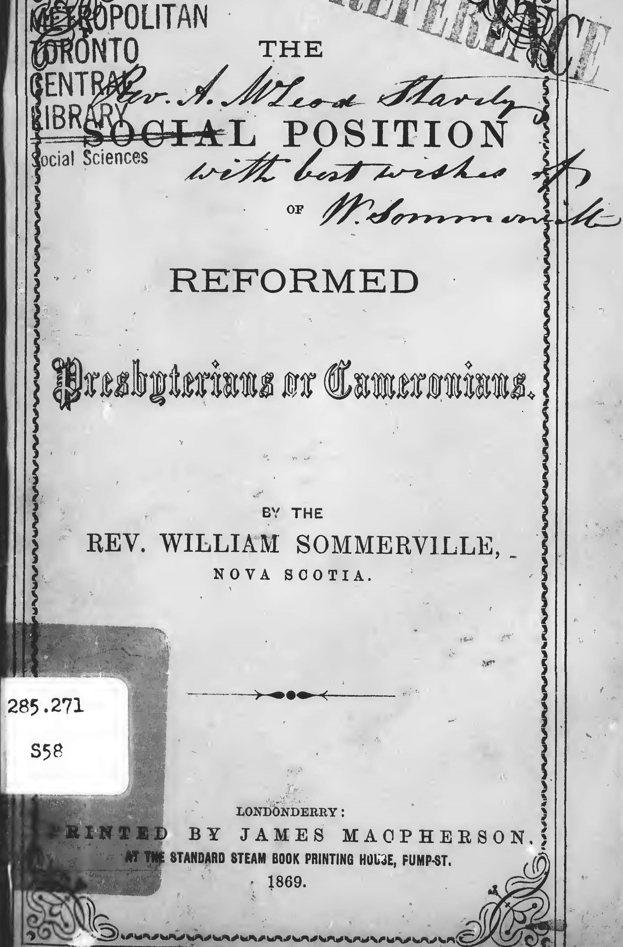 Sommerville, William, The Social Position of Reformed Presbyterians, or Cameronians Title Page.jpg