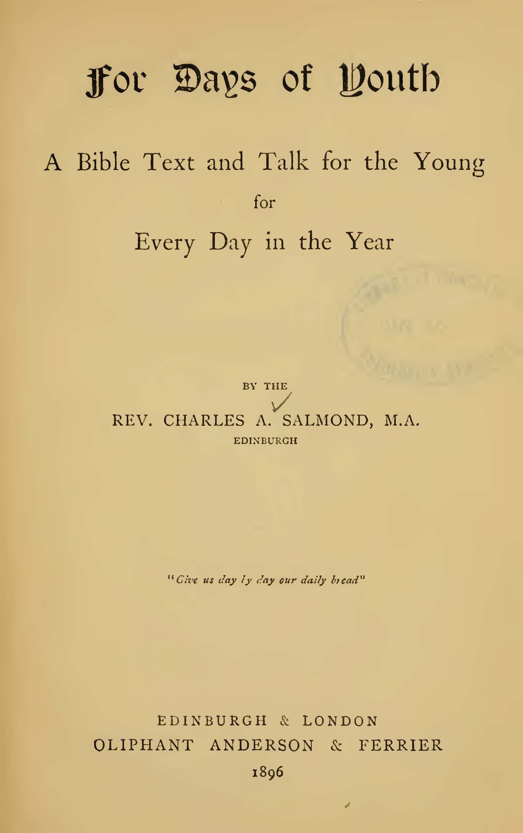 Salmond, Charles Adamson, For Days of Youth Title Page.jpg
