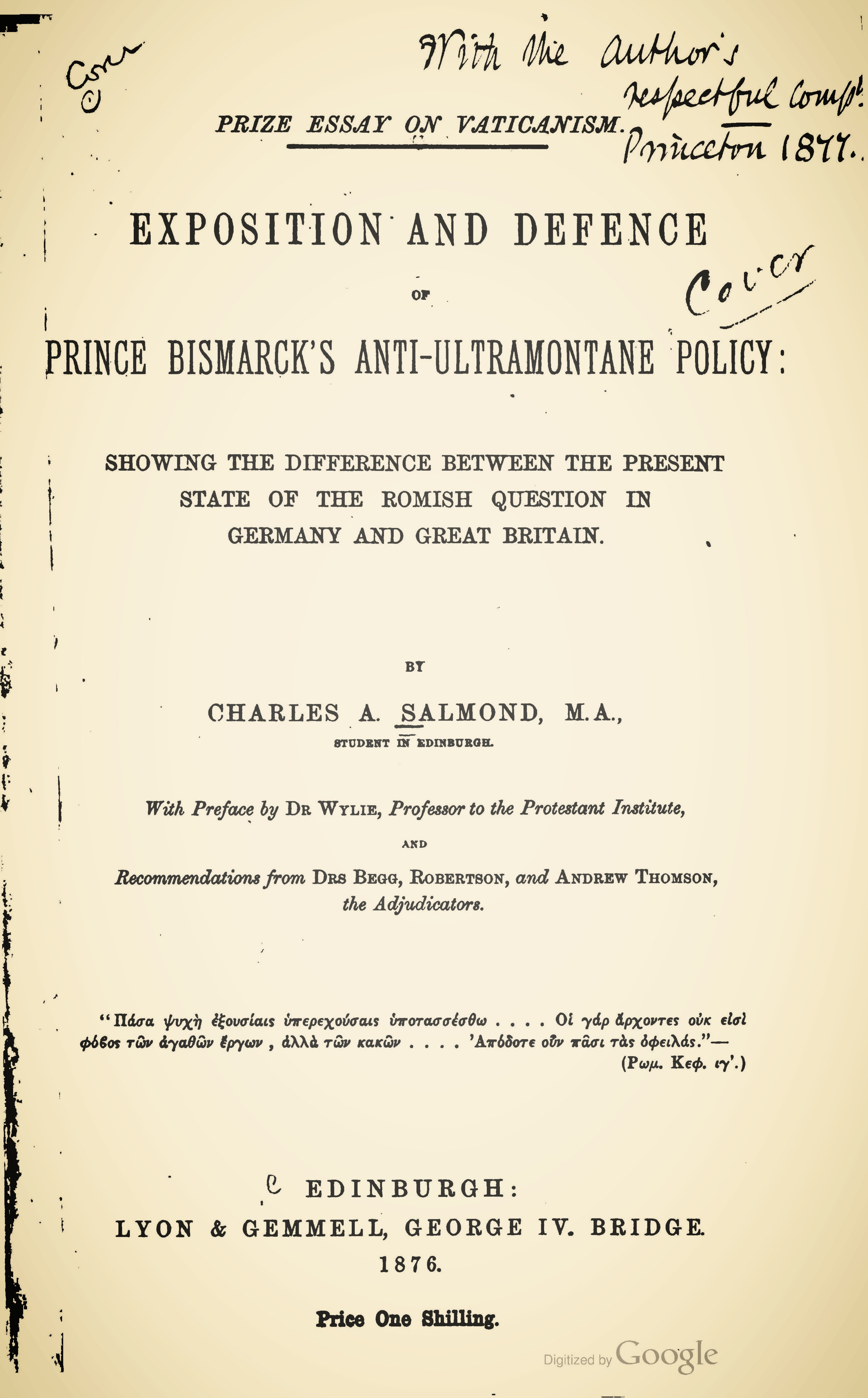 Salmond, Charles Adamson, Prize Essay on Vaticanism Title Page.jpg