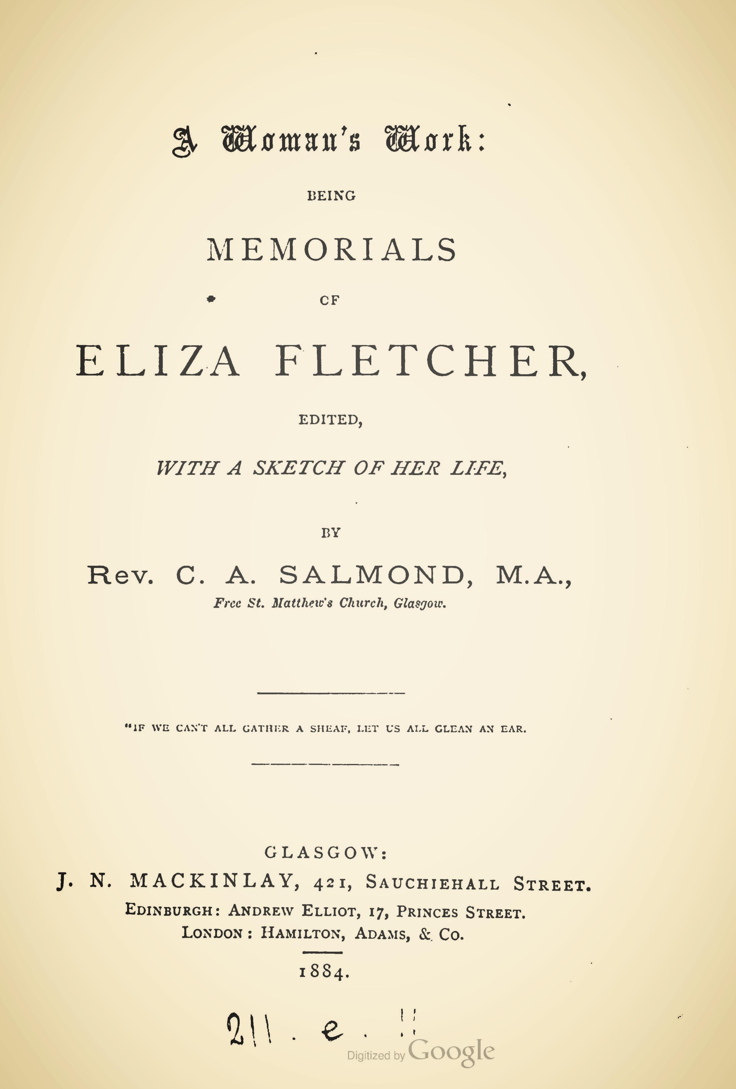 Salmond, Charles Adamson, A Womans Work Memorials of Eliza Fletcher Title Page.jpg