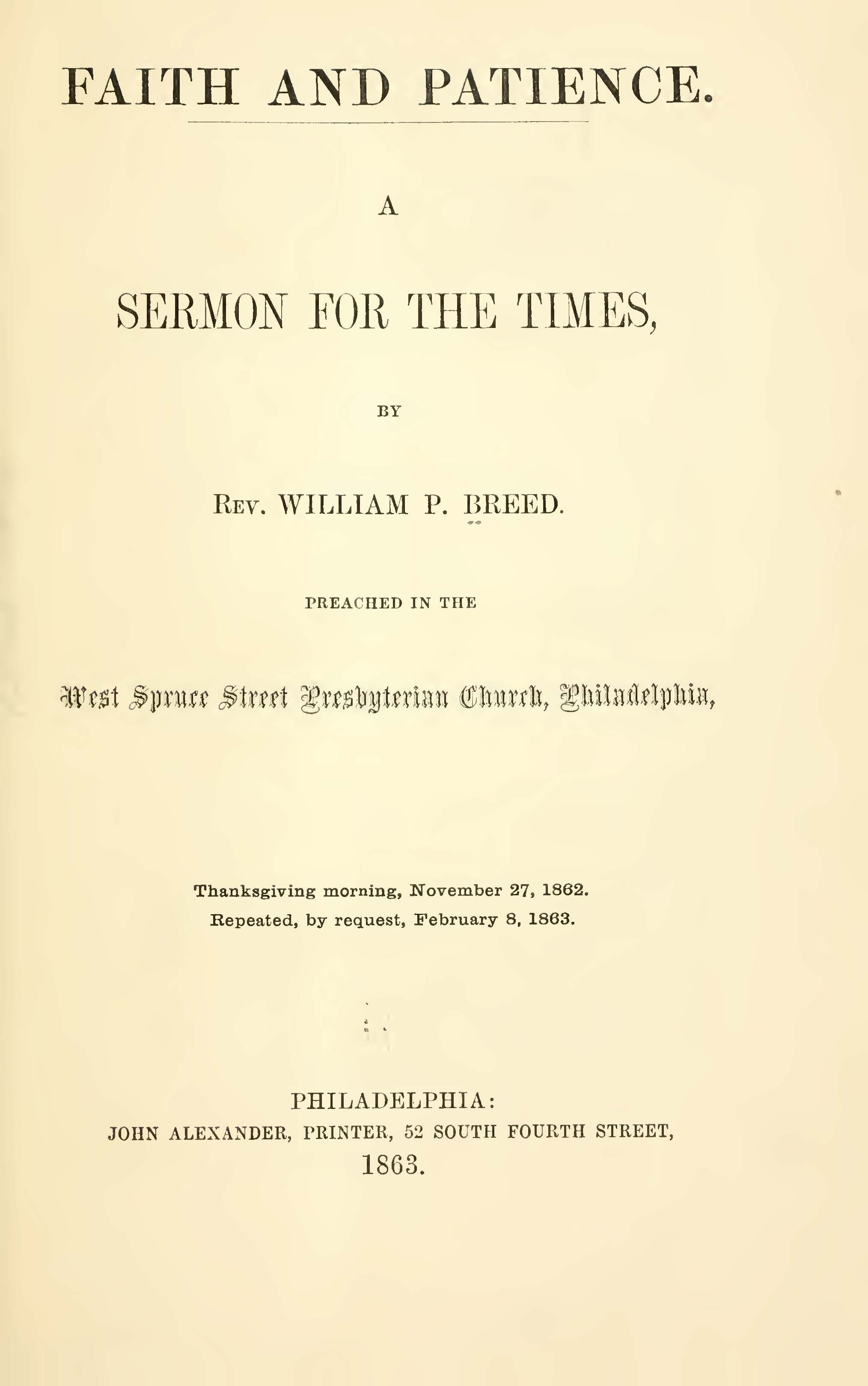 Breed, William Pratt, Faith and Patience A Sermon for the Times Title Page.jpg