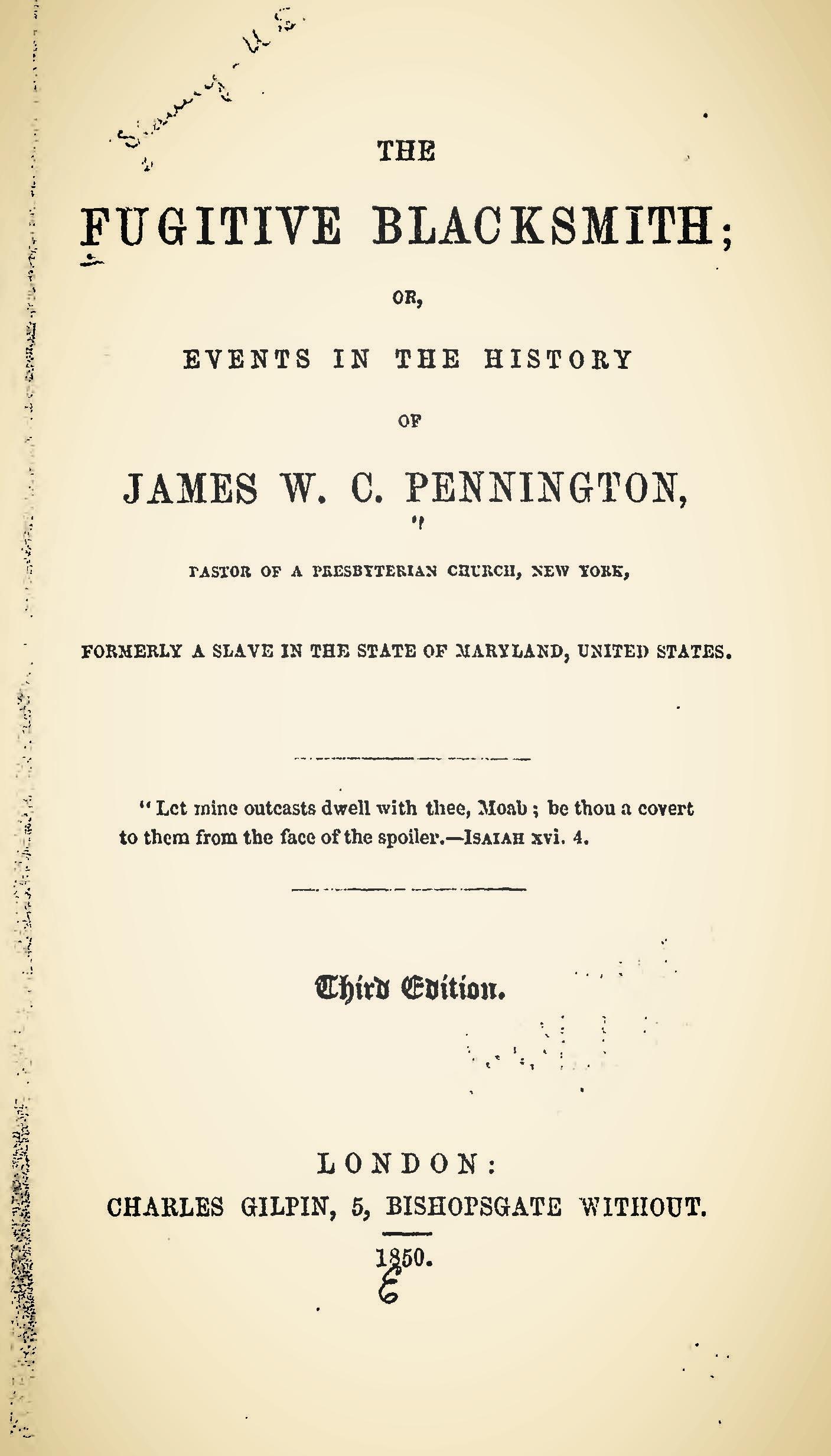 Pennington, James W.C., The Fugitive Blacksmith Title Page.jpg