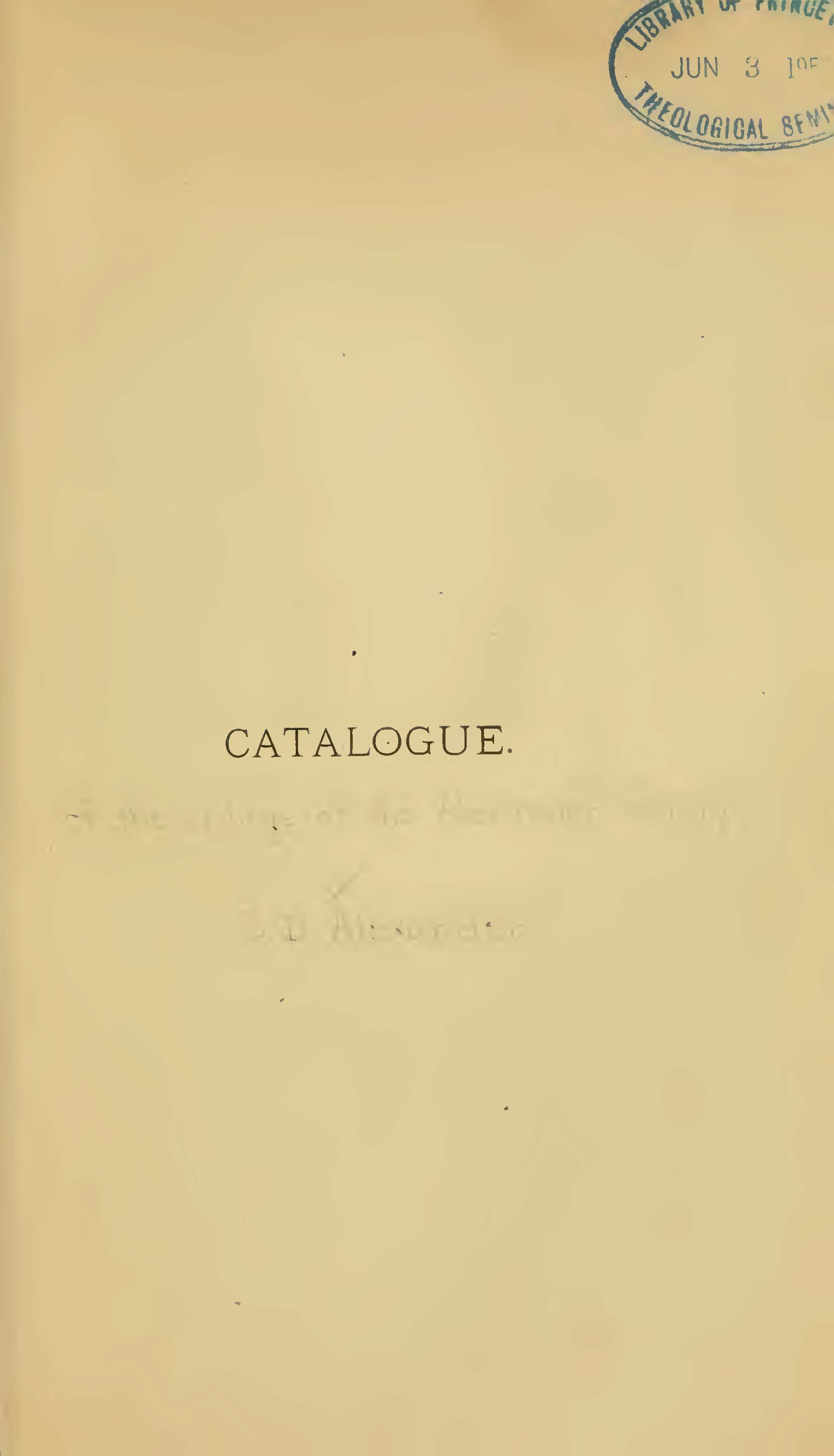 Alexander, Samuel Davies, Catalogue of the Writings of the Alexander Family Title Page.jpg