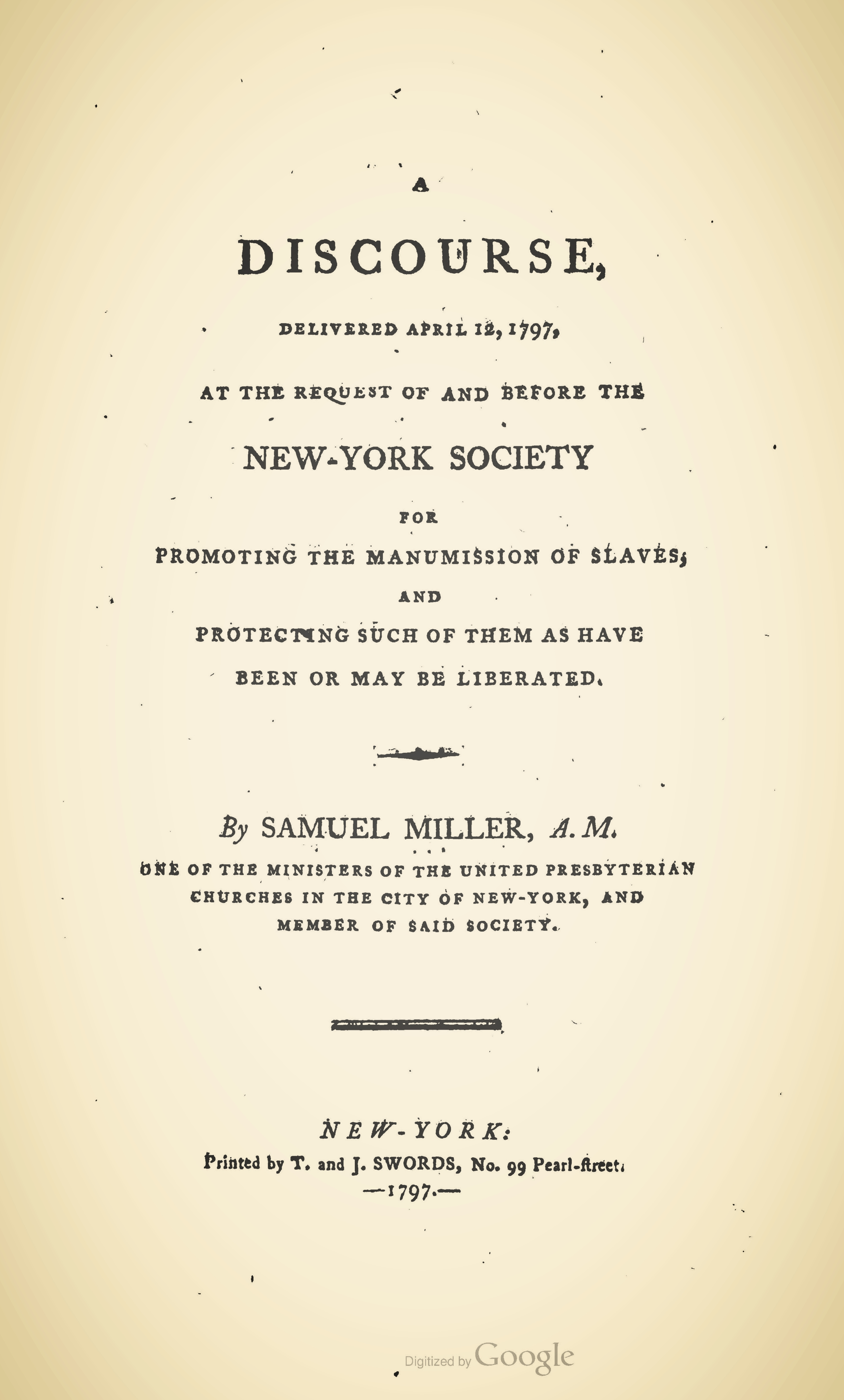 Miller, Samuel, A Discourse For Promoting the Manumission of Slaves Title Page.jpg