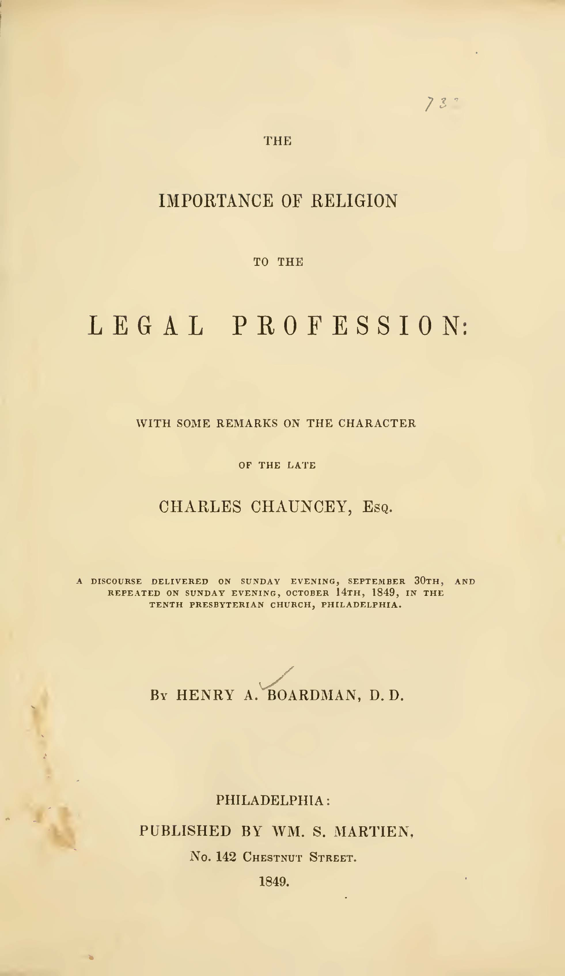 Boardman, Henry Augustus, The Importance of Religion to the Legal Profession Title Page.jpg