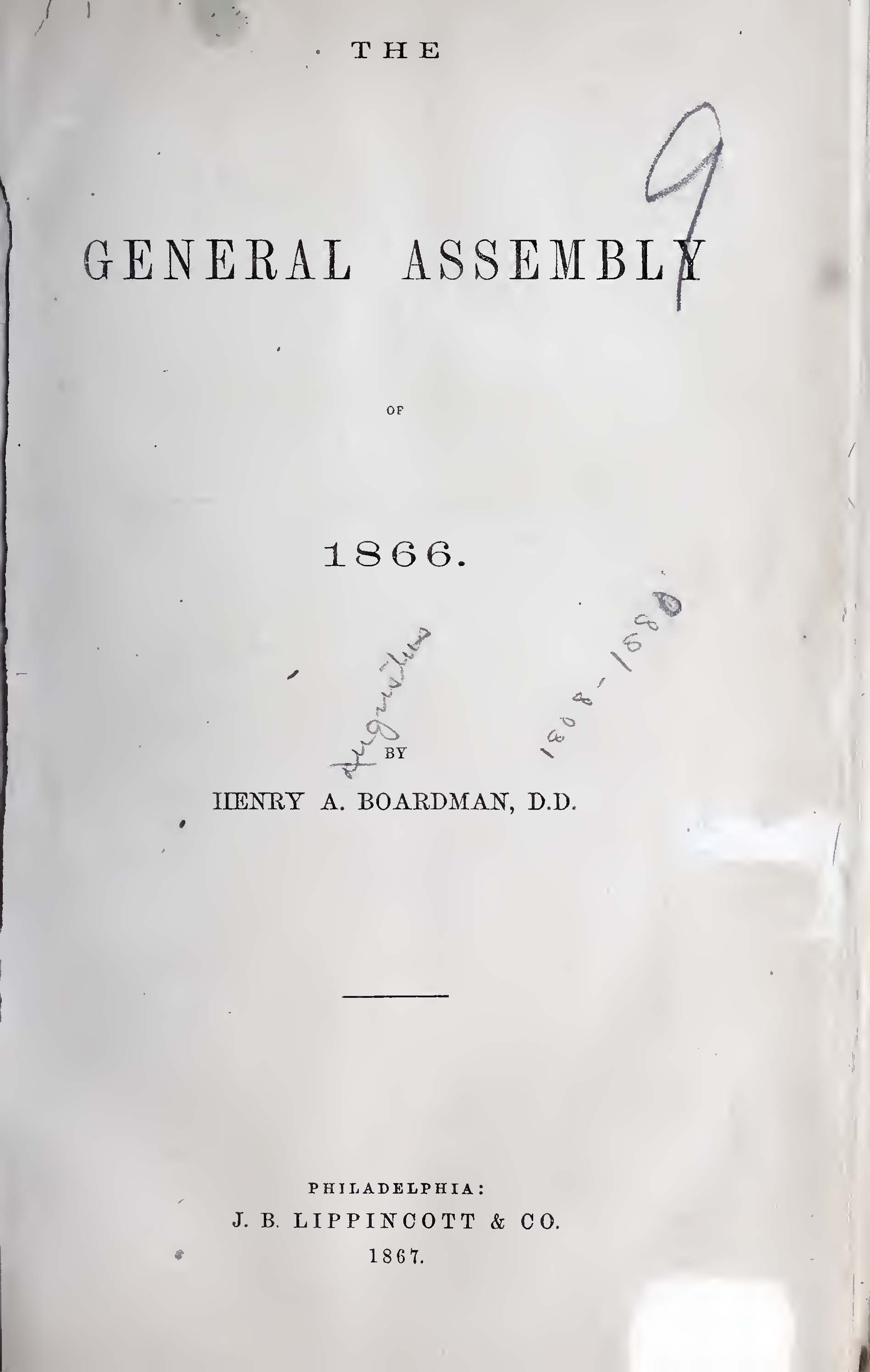 Boardman, Henry Augustus, The General Assembly of 1866 Title Page.jpg