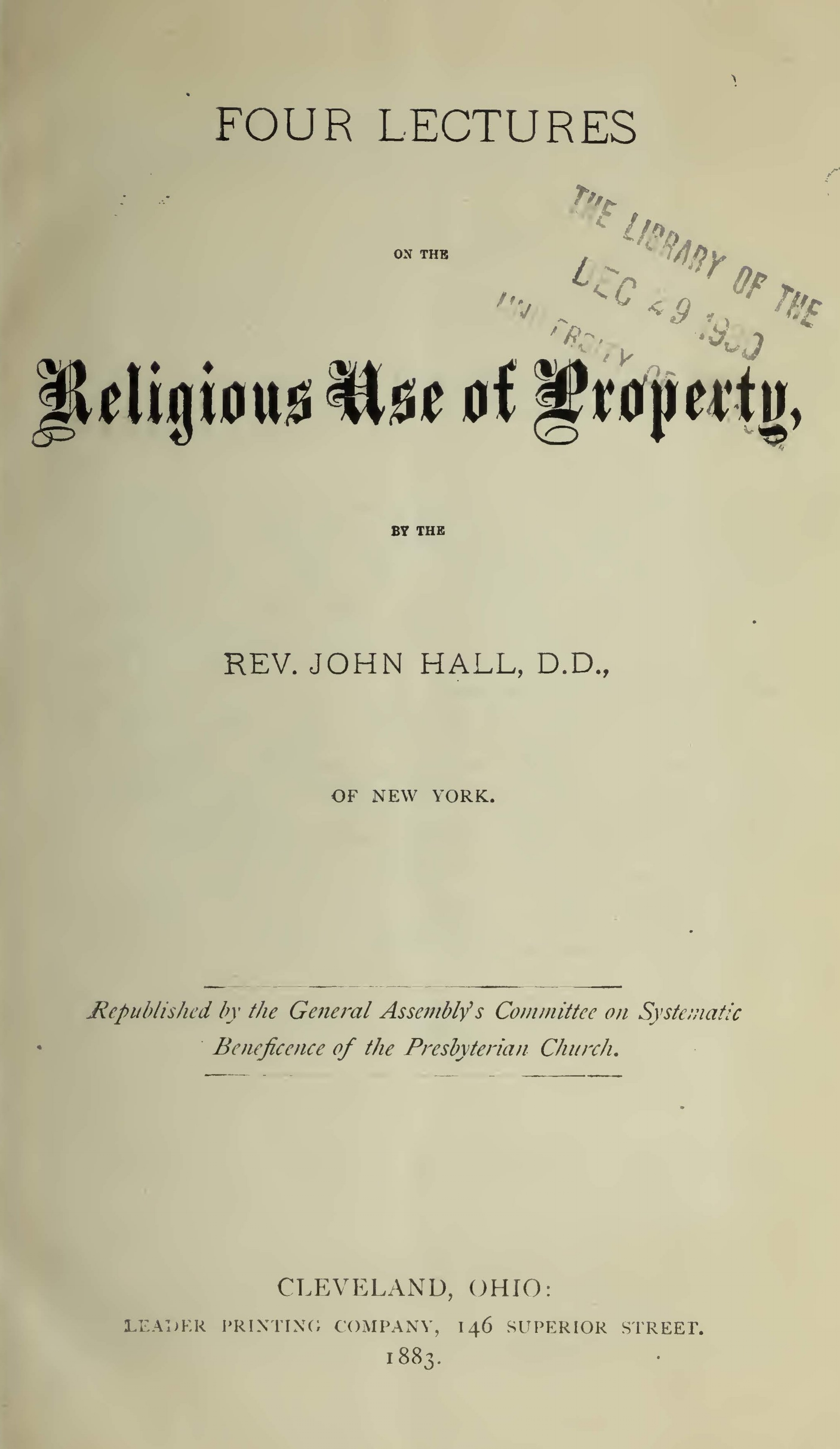 Hall, John, Four Lectures on the Religious Use of Property Title Page.jpg