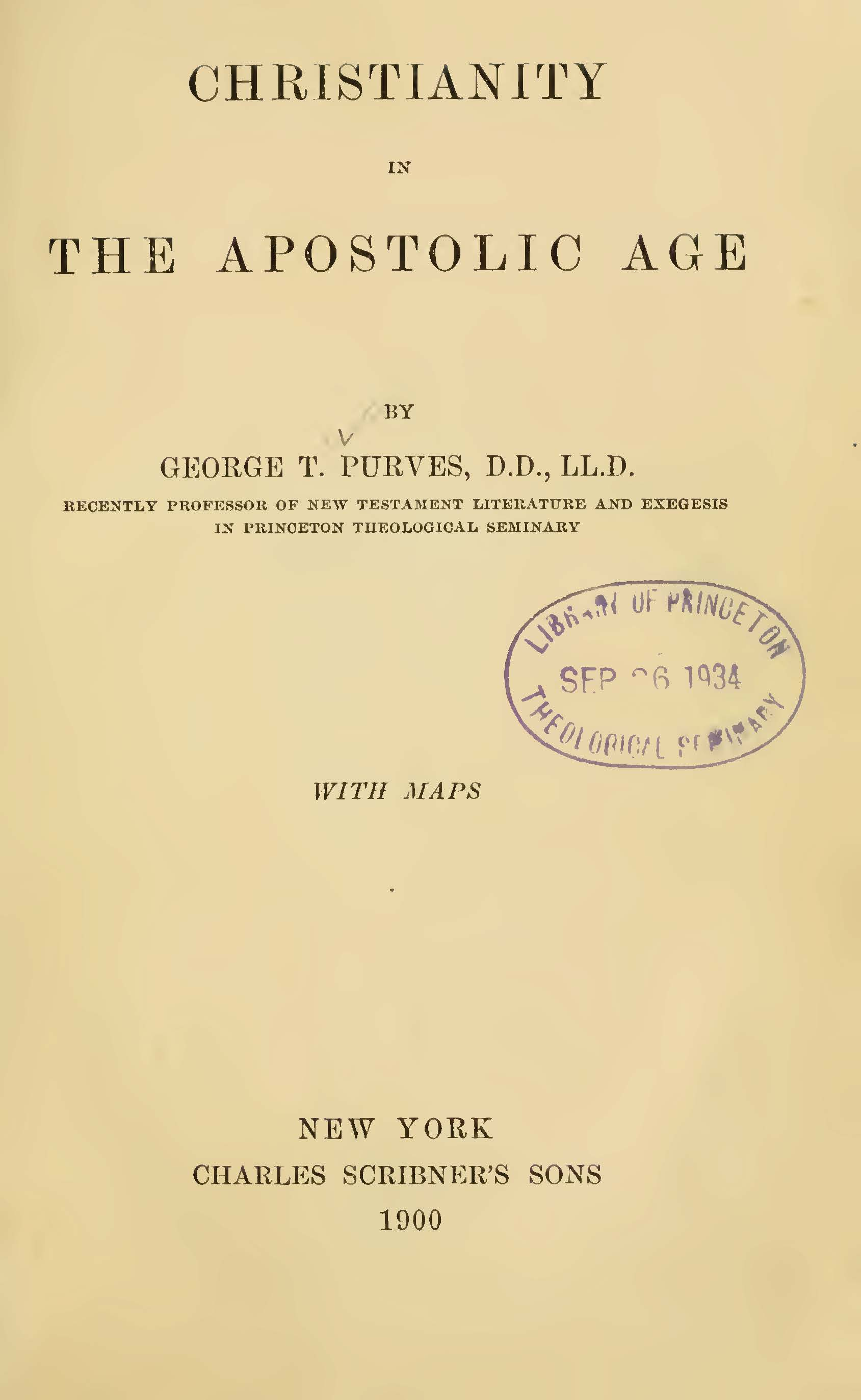 Purves, George Tybout, Christianity in the Apostolic Age Title Page.jpg