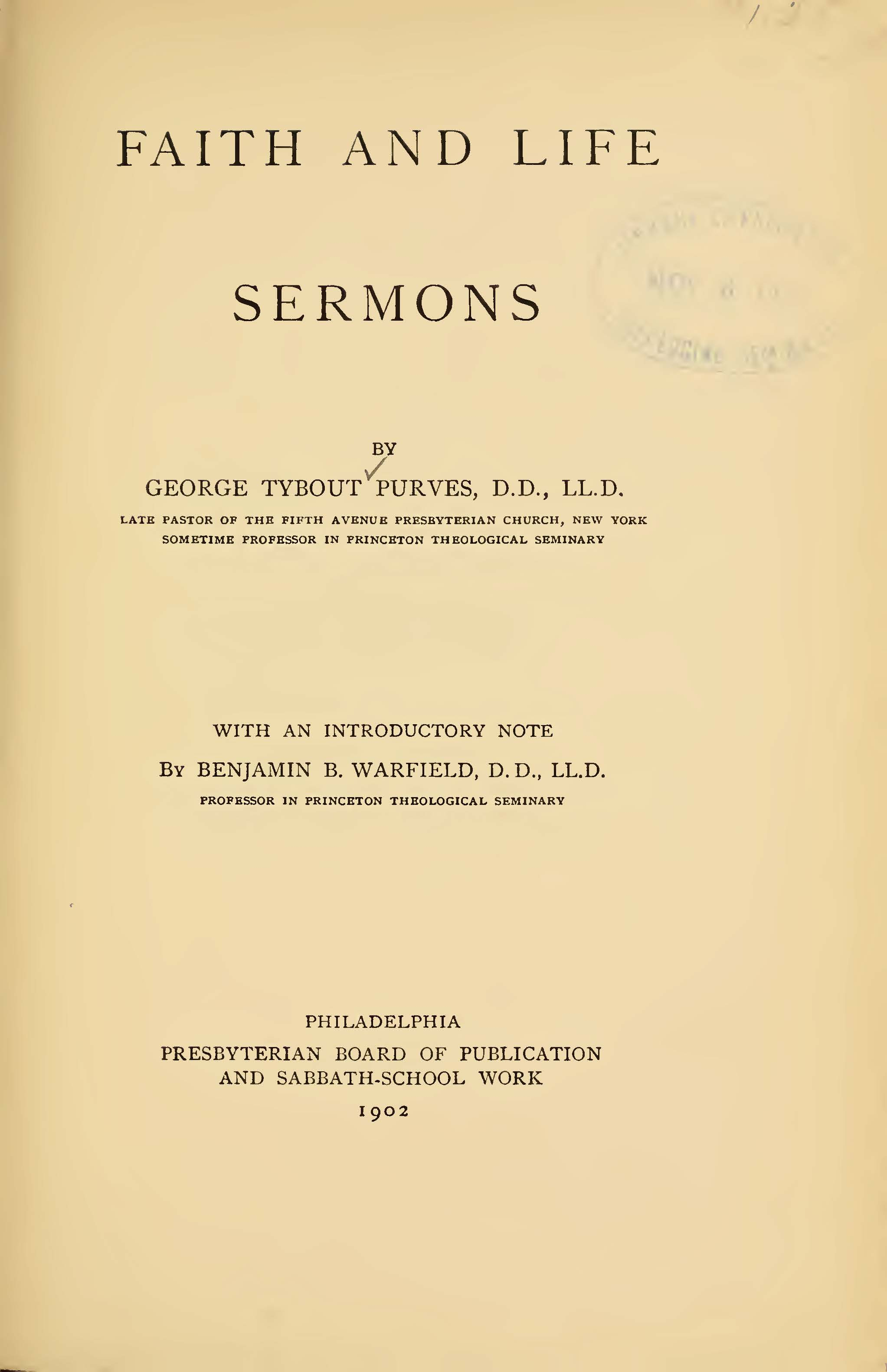 Purves, George Tybout, Faith and Life Title Page.jpg
