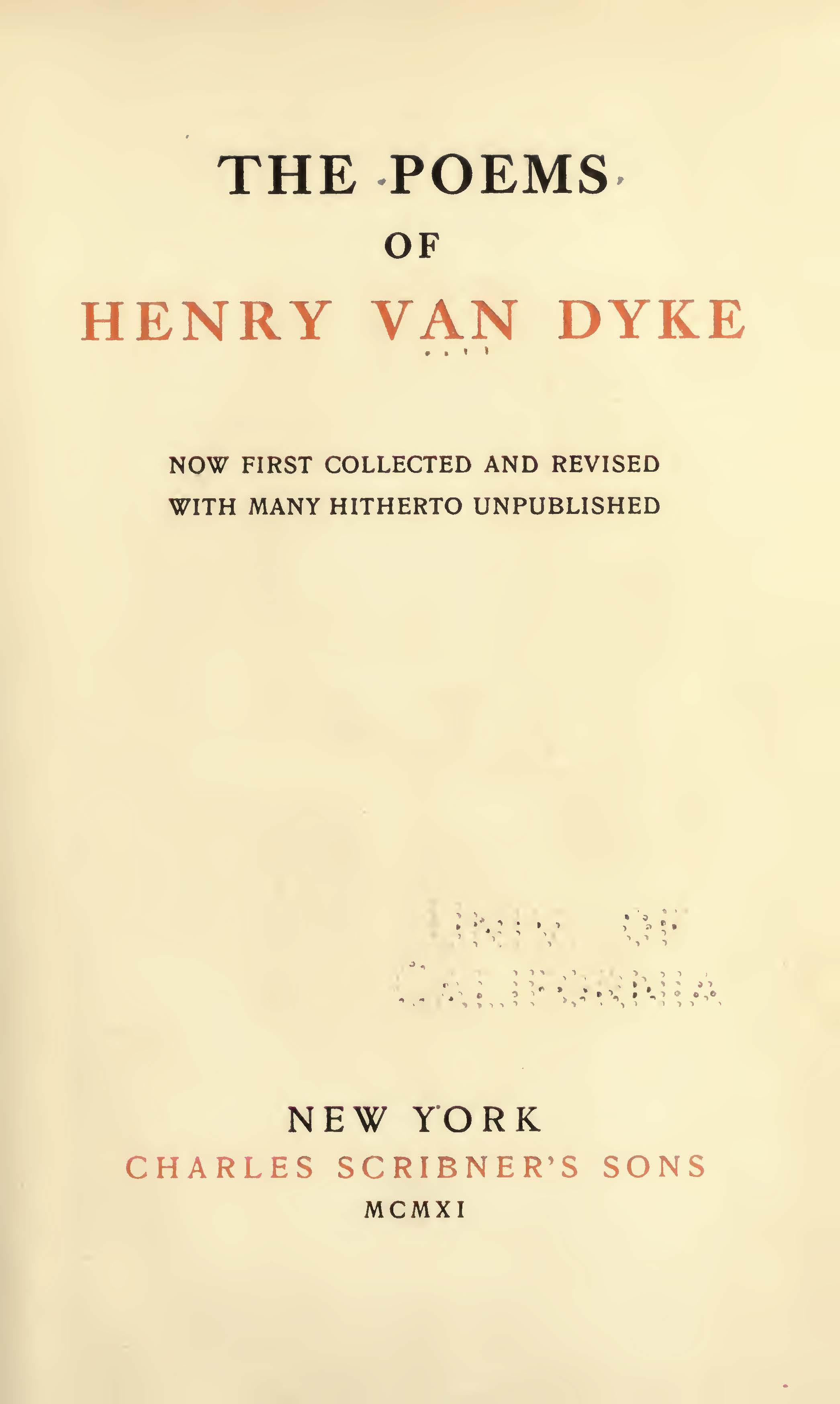 Van Dyke, Jr., Henry, The Poems of Henry Van Dyke Title Page.jpg