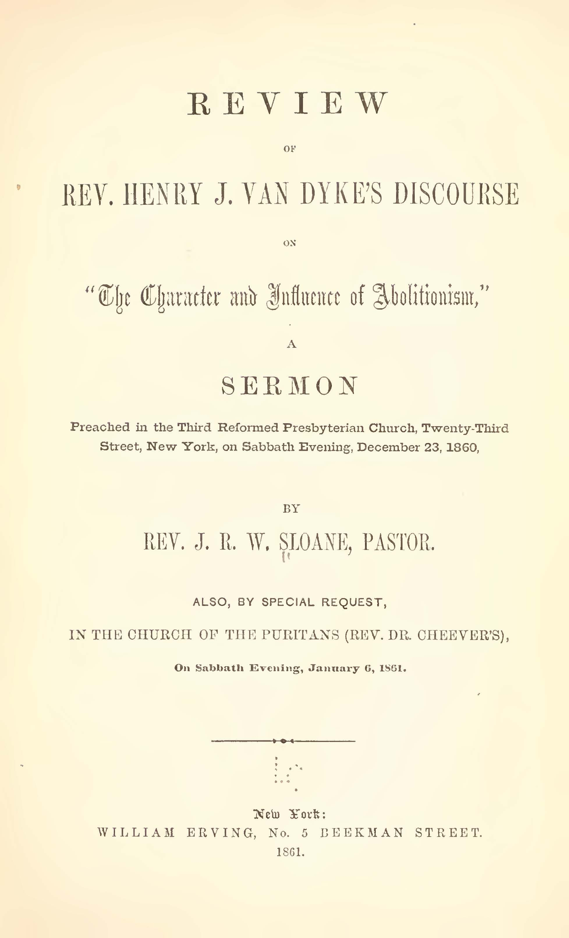 Sloane, James Renwick Wilson, Review of Rev. Henry J. Van Dyke's Discourse on The Character and Influence of Abolitionism Title Page.jpg