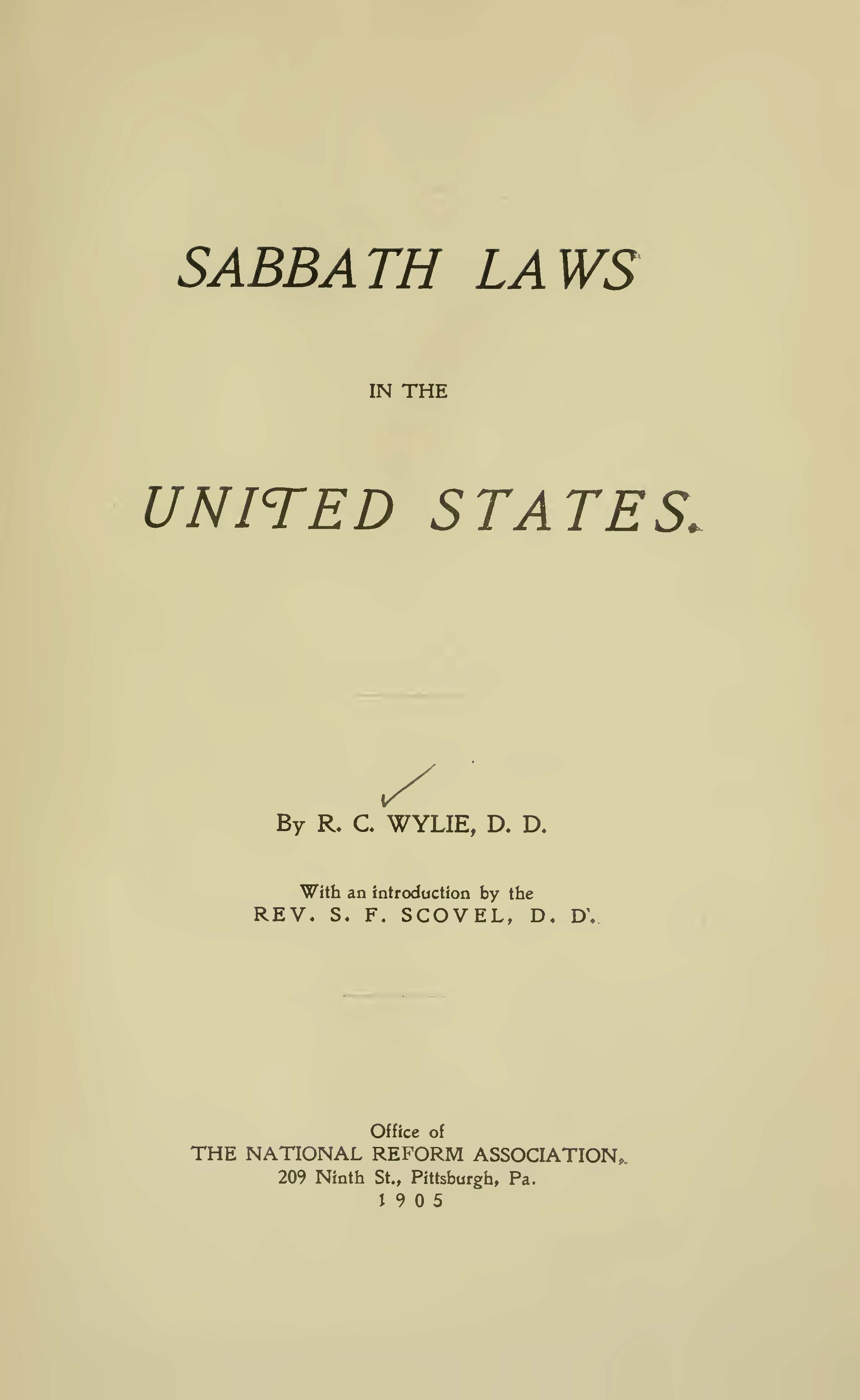 Wylie, Richard Cameron, Sabbath Laws in the United States Title Page.jpg