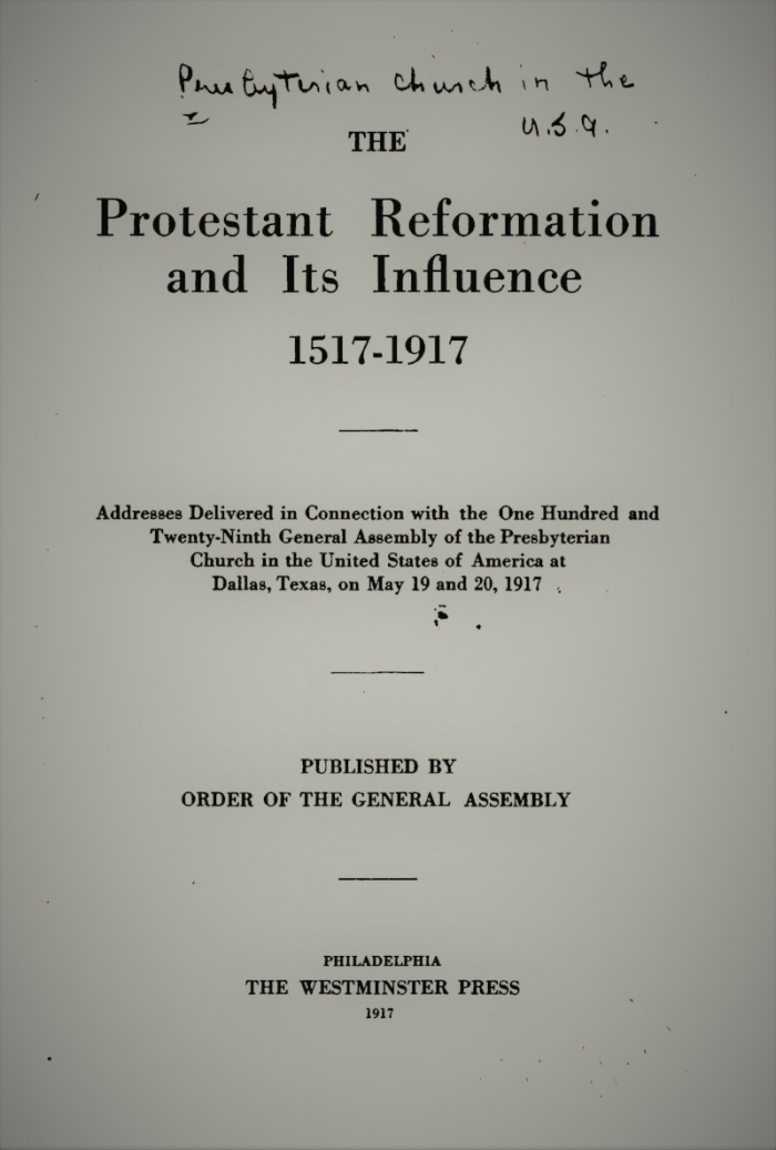 The Origin and Purpose of the Protestant Reformation, by David Schley Schaff The Reformation: A Revival of Religion, by J. Ross Stevenson The Reformation in Relation to Civil and Religious Liberty, by William Henry Roberts Messages From Luther for Our Day, by Henry Sloane Coffin The Influence of the Reformation, by Frederick W. Loetscher The Reformation and Humanism, by William R. Farmer The Reformation and Some Vital and Constructive Elements of Modern Life, by William McKibben The Reformers as Men of Thought and Action, by Andrew C. Zenos The Protestant Reformation and the Christian Life, by William H. Black