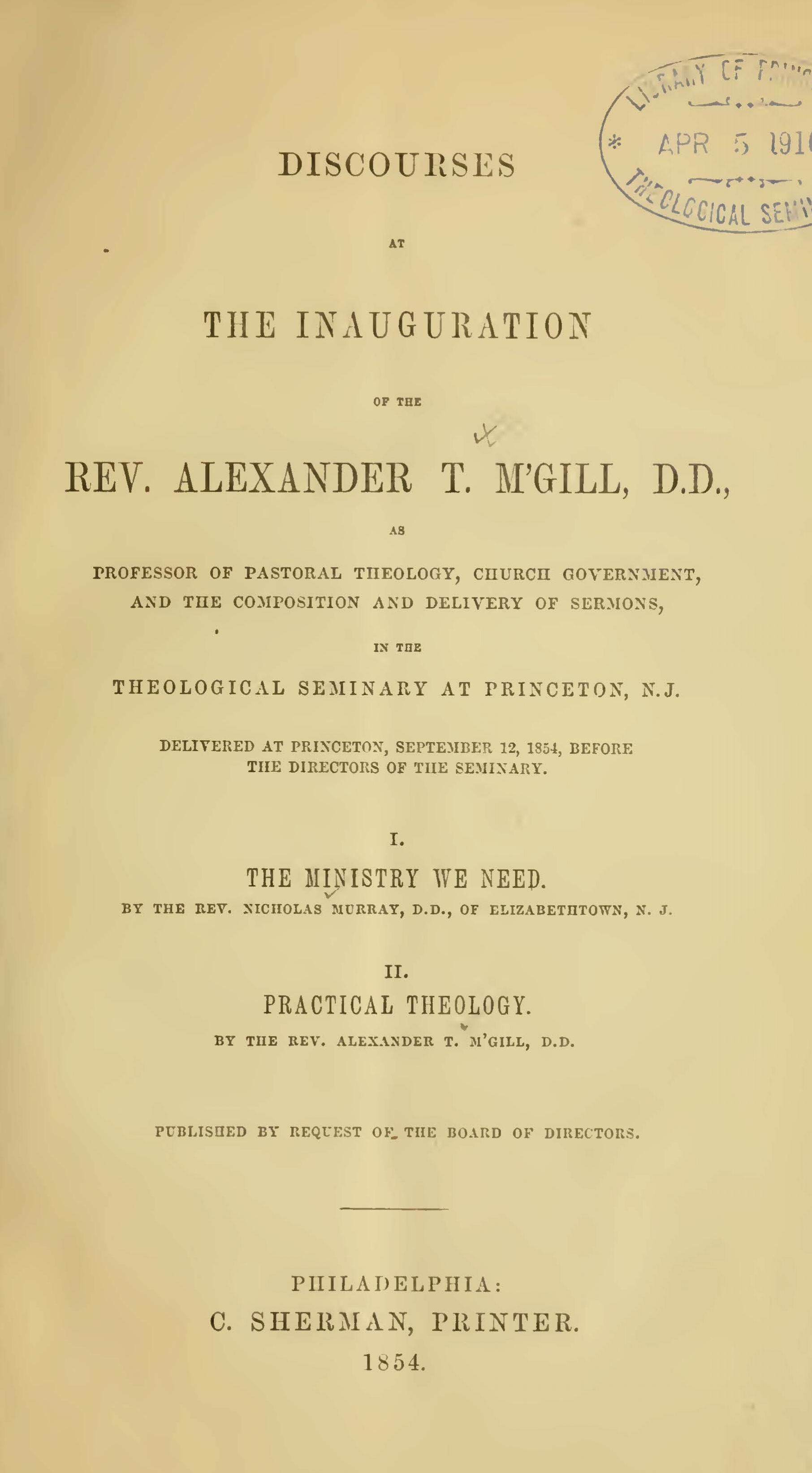 McGill, Alexander Taggart, Discourses at the Inauguration of the Rev. Alexander T. M'Gill, D.D. Title Page.jpg