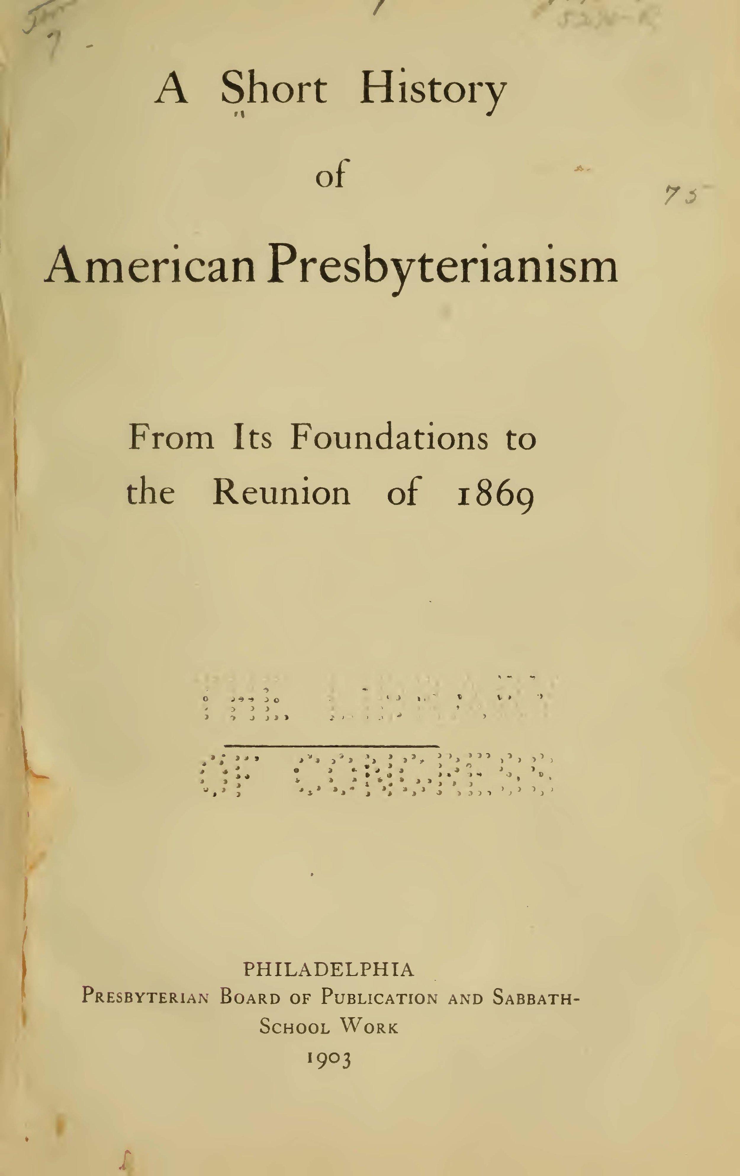 Wilson, Samuel Jennings, A Short History of American Presbyterianism Title Page.jpg