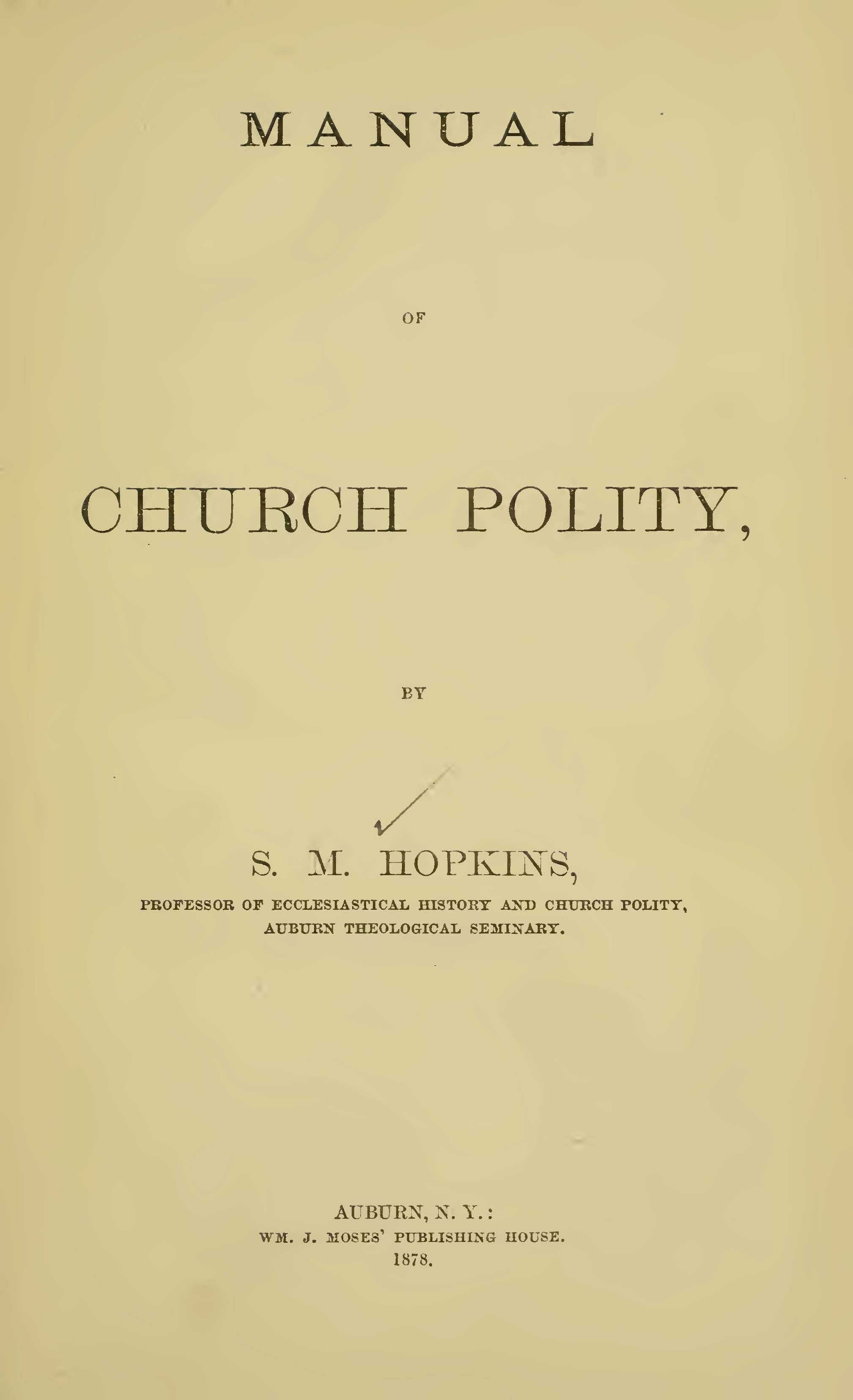 Hopkins, II, Samuel Miles, Manual of Church Polity Title Page.jpg