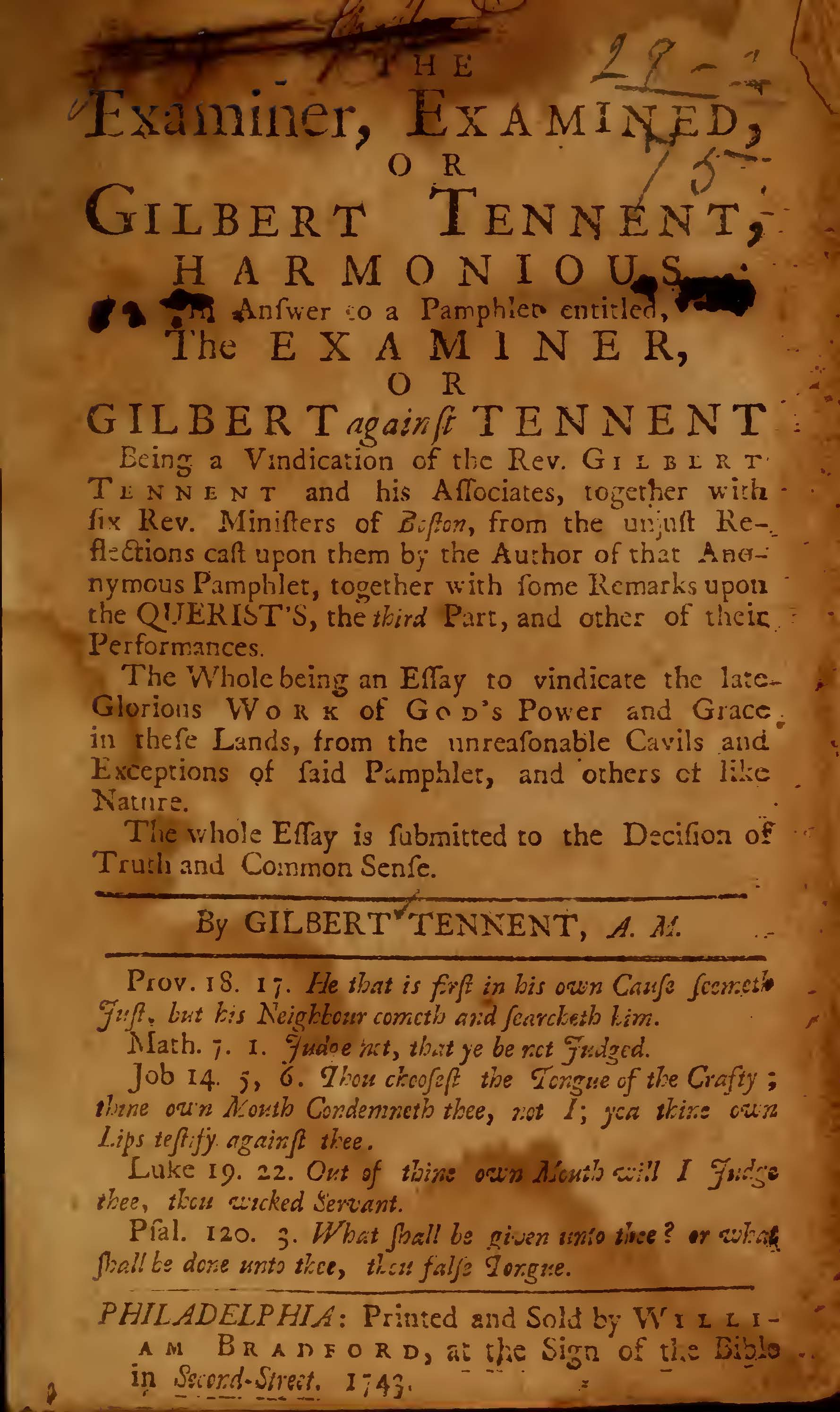 Tennent, Gilbert, The Examiner Examined Title Page.jpg