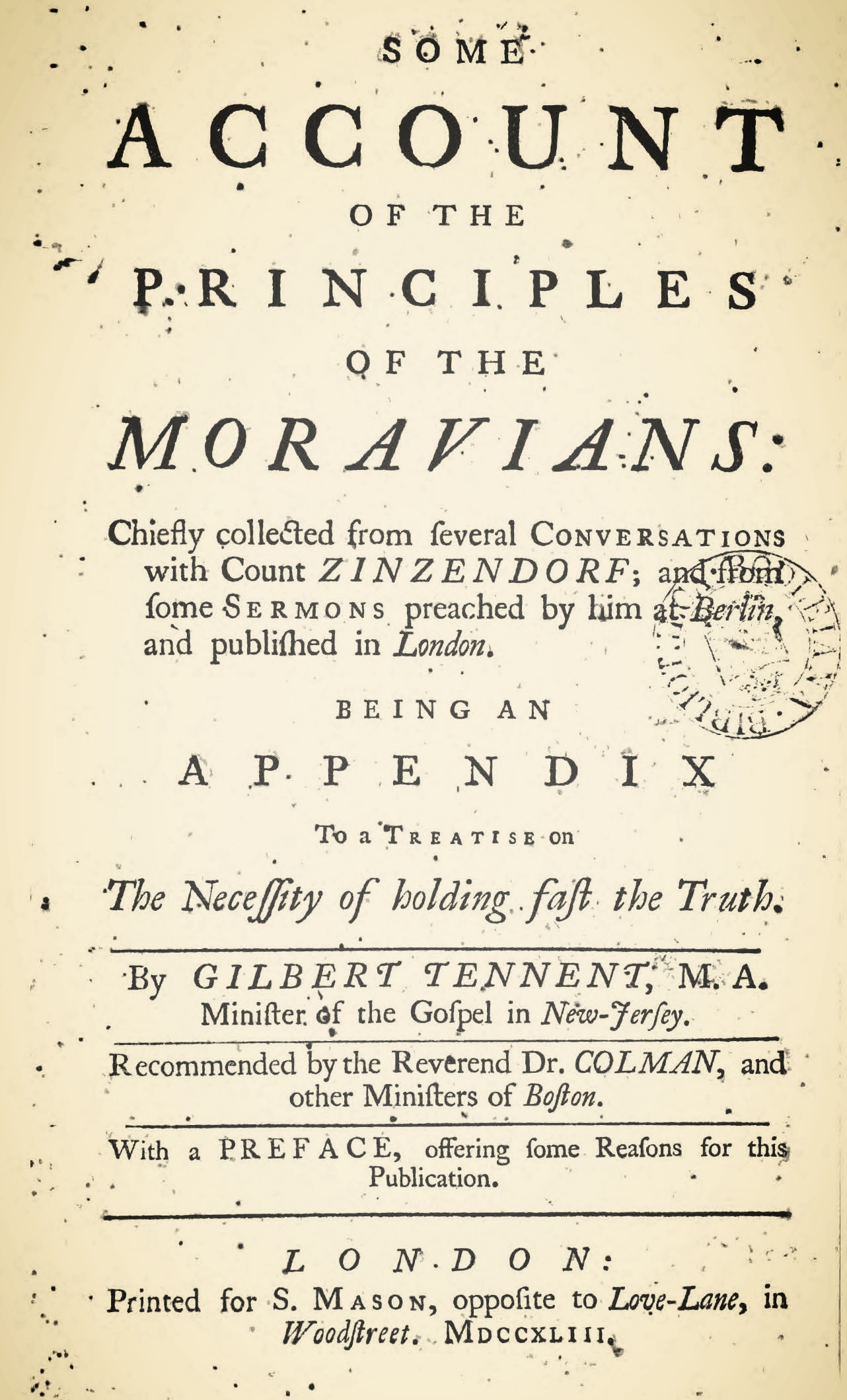 Tennent, Gilbert, Some Account of the Principles of the Moravians Title Page.jpg