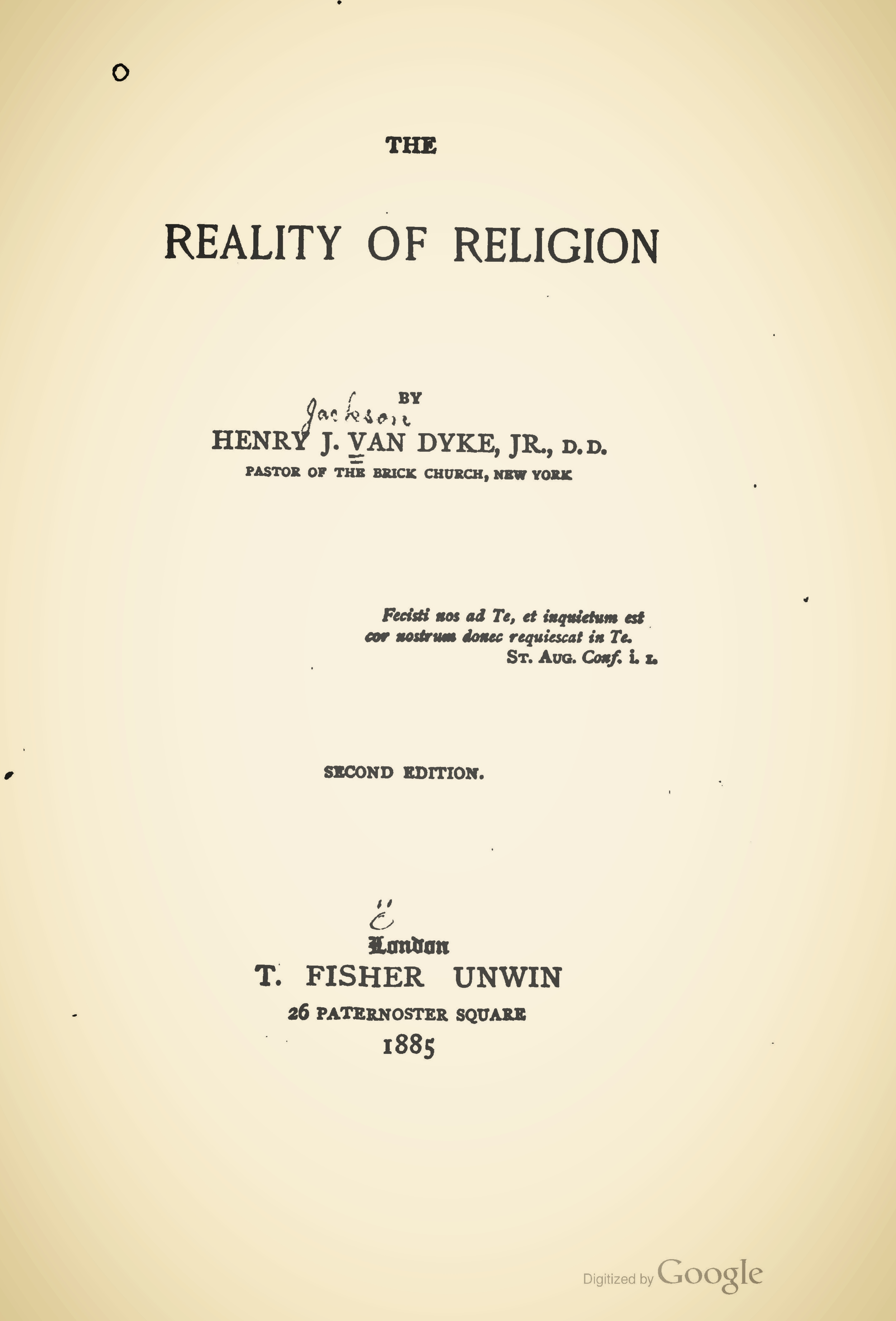 Van Dyke, Jr., Henry, The Reality of Religion Title Page.jpg