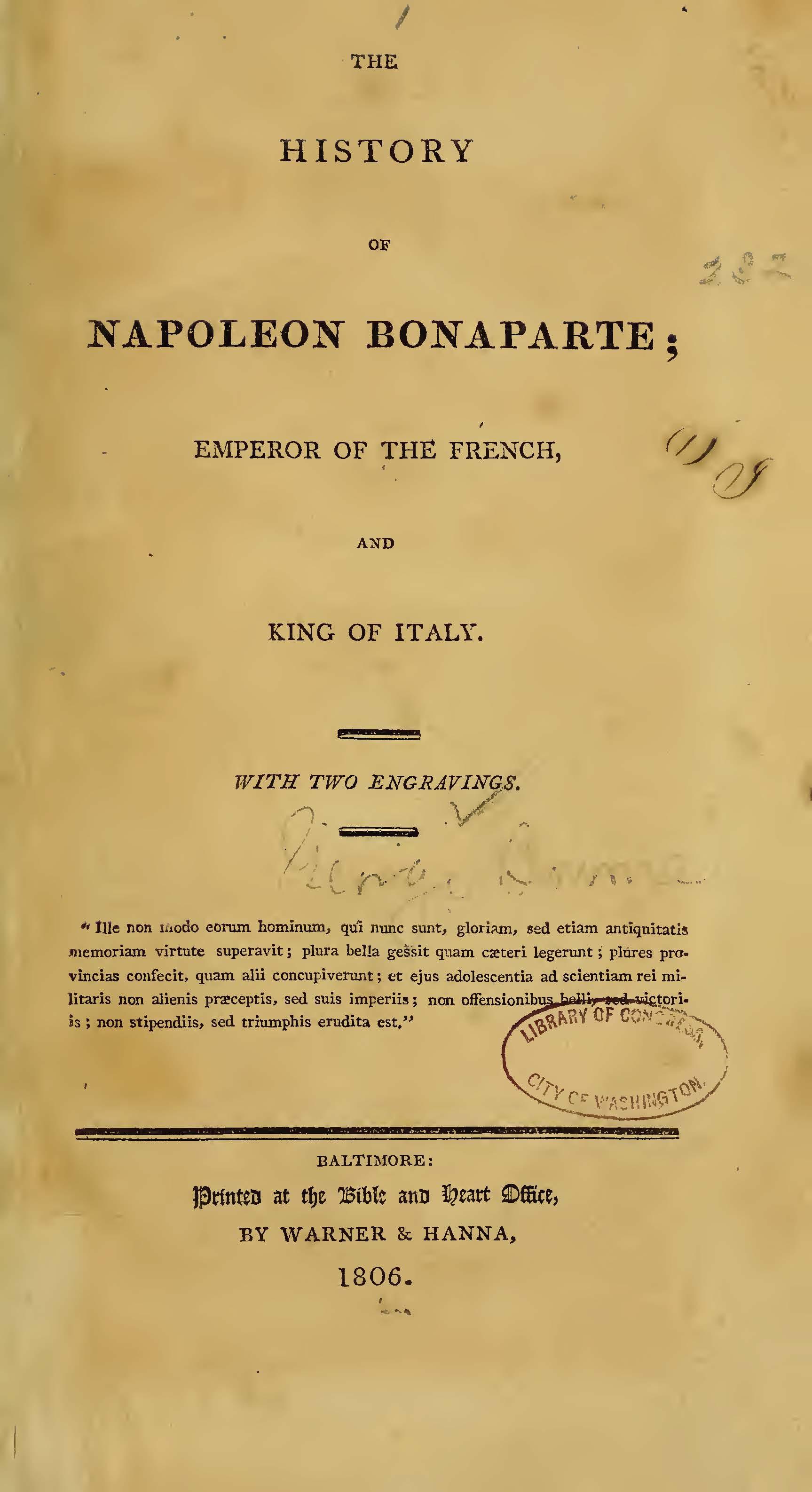 Bourne, George, The History of Napoleon Bonaparte Title Page.jpg