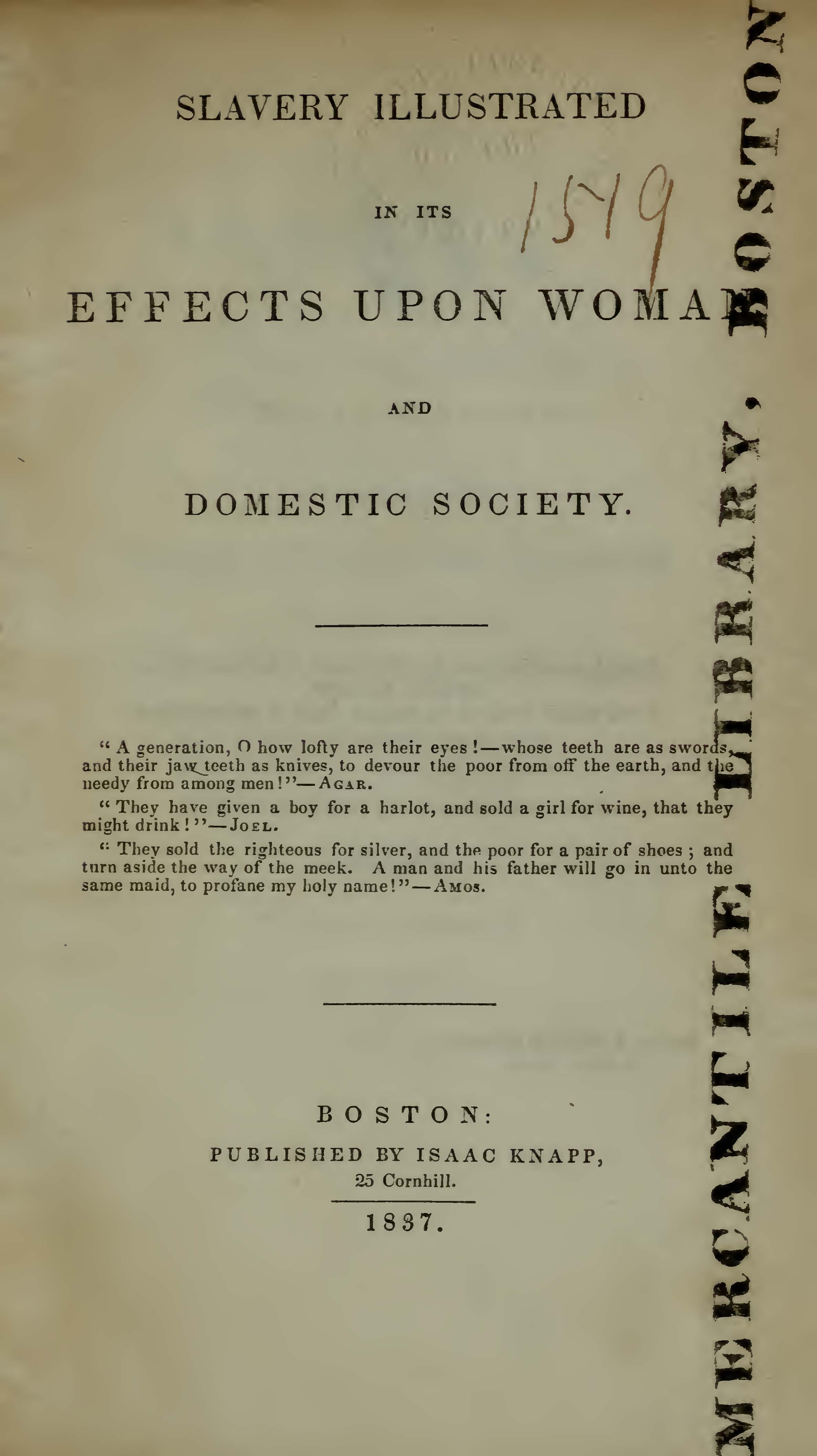 Bourne, George, Slavery Illustrated in Its Effects Upon Woman and Domestic Society Title Page.jpg