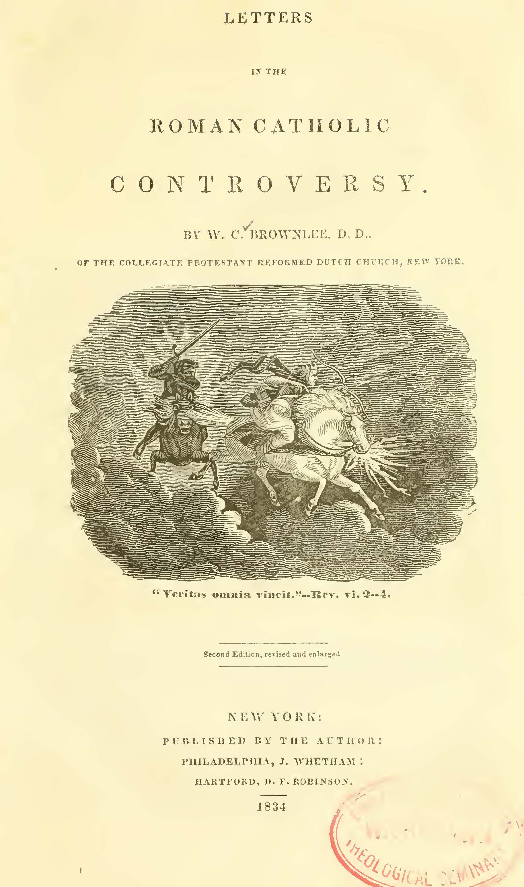 Brownlee, William Craig, Letters in the Roman Catholic Controversy Title Page.jpg