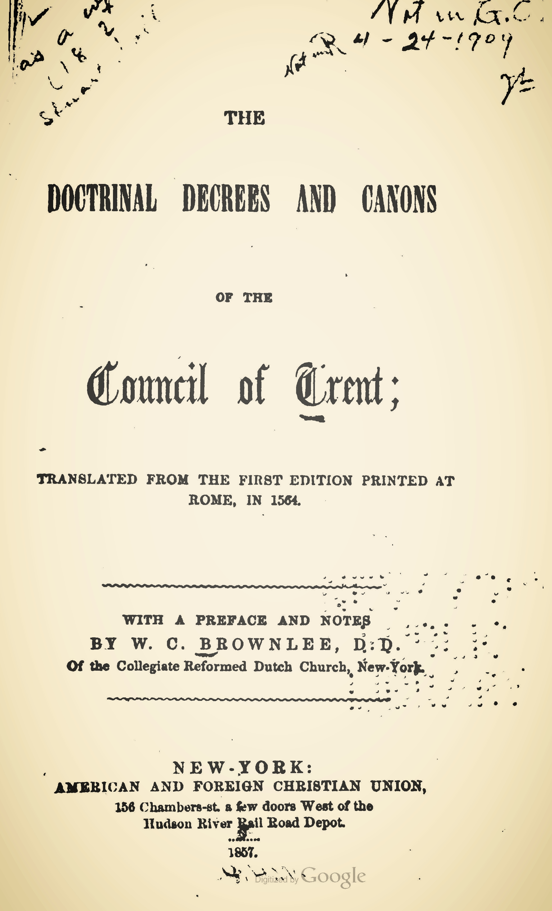 Brownlee, William Craig, The Doctrinal Decrees and Canons of the Council of Trent Title Page.jpg