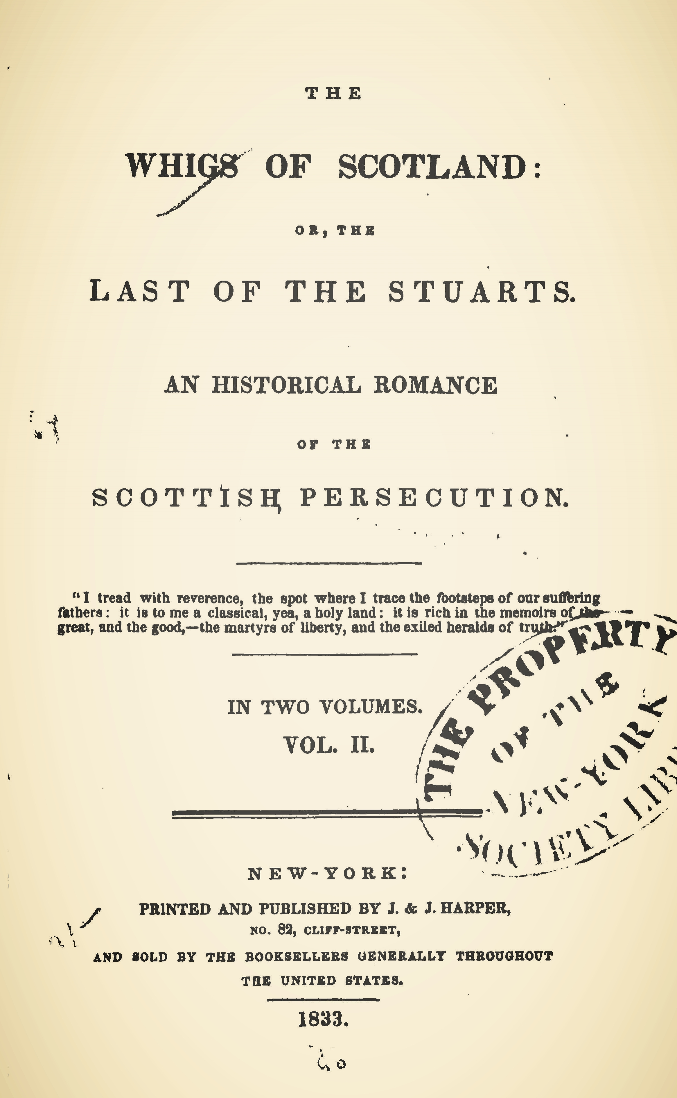 Brownlee, William Craig, The Whigs of Scotland or, The Last of the Stuarts An Historical Romance of the Scottish Persecution Vol. 2 Title Page.jpg